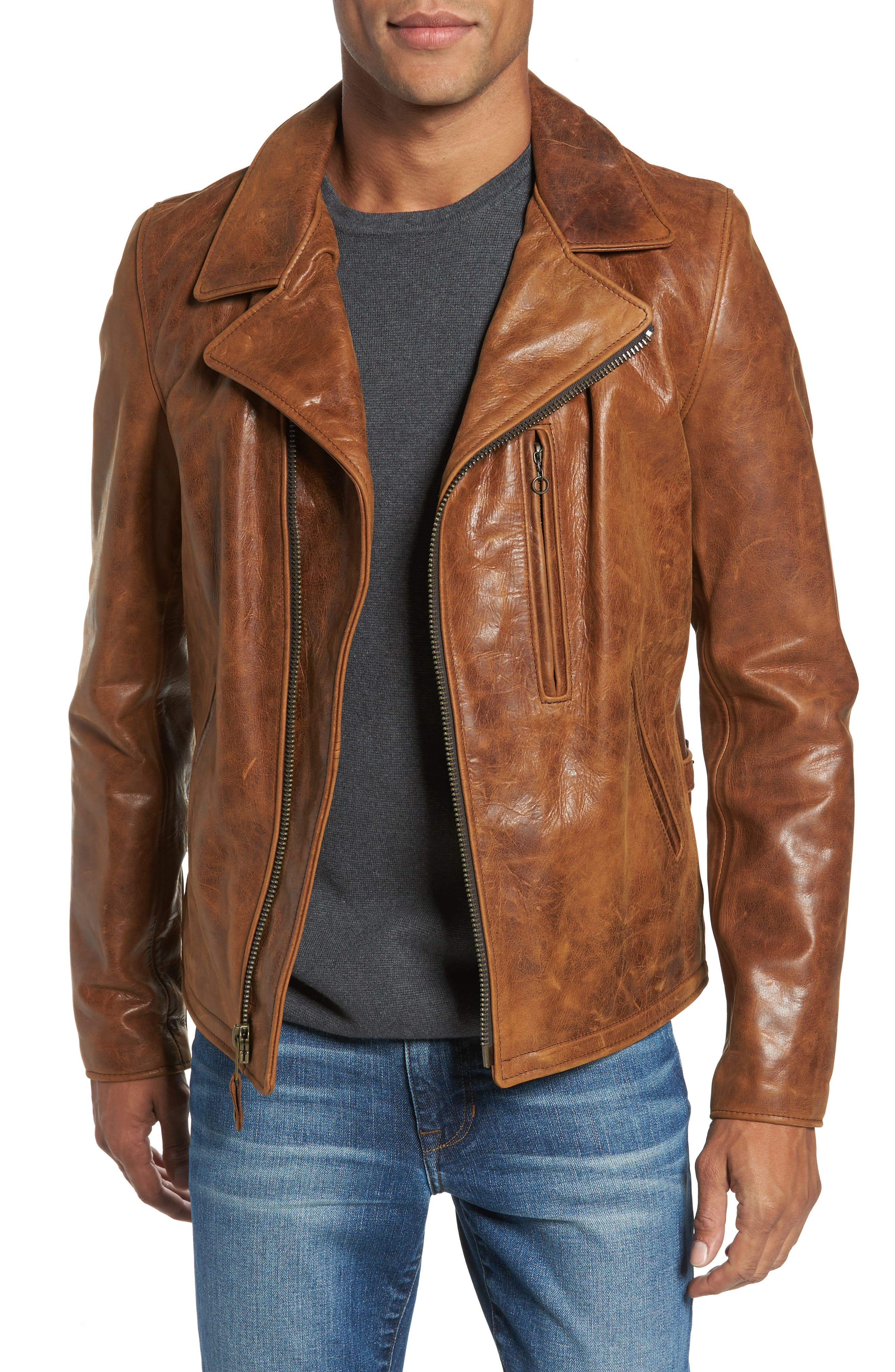 Asymmetrical Waxy Leather Jacket,                         Main,                         color, SYCAMORE