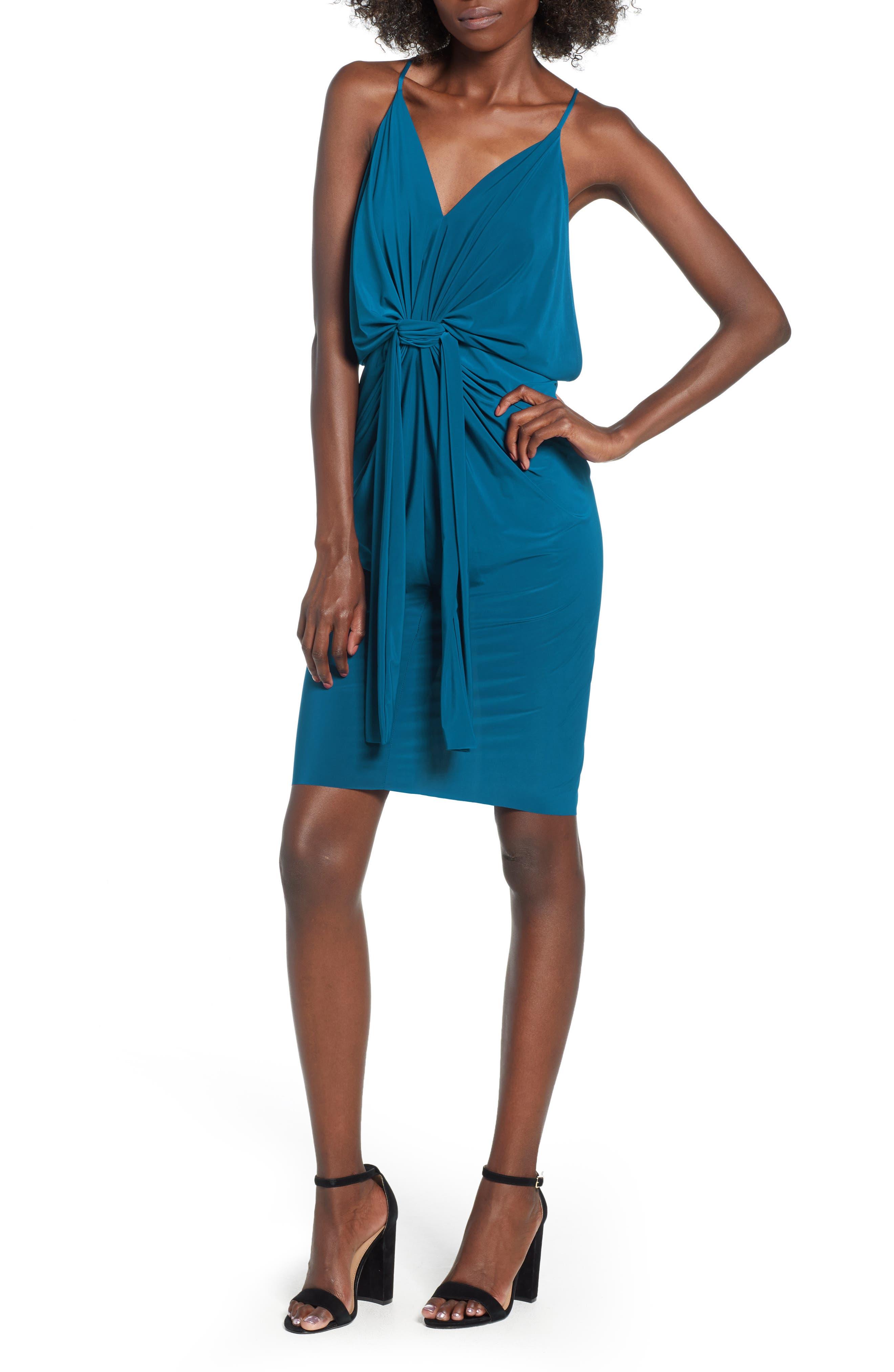 MISA Domino Slinky Jersey Midi Cocktail Dress in Indigo