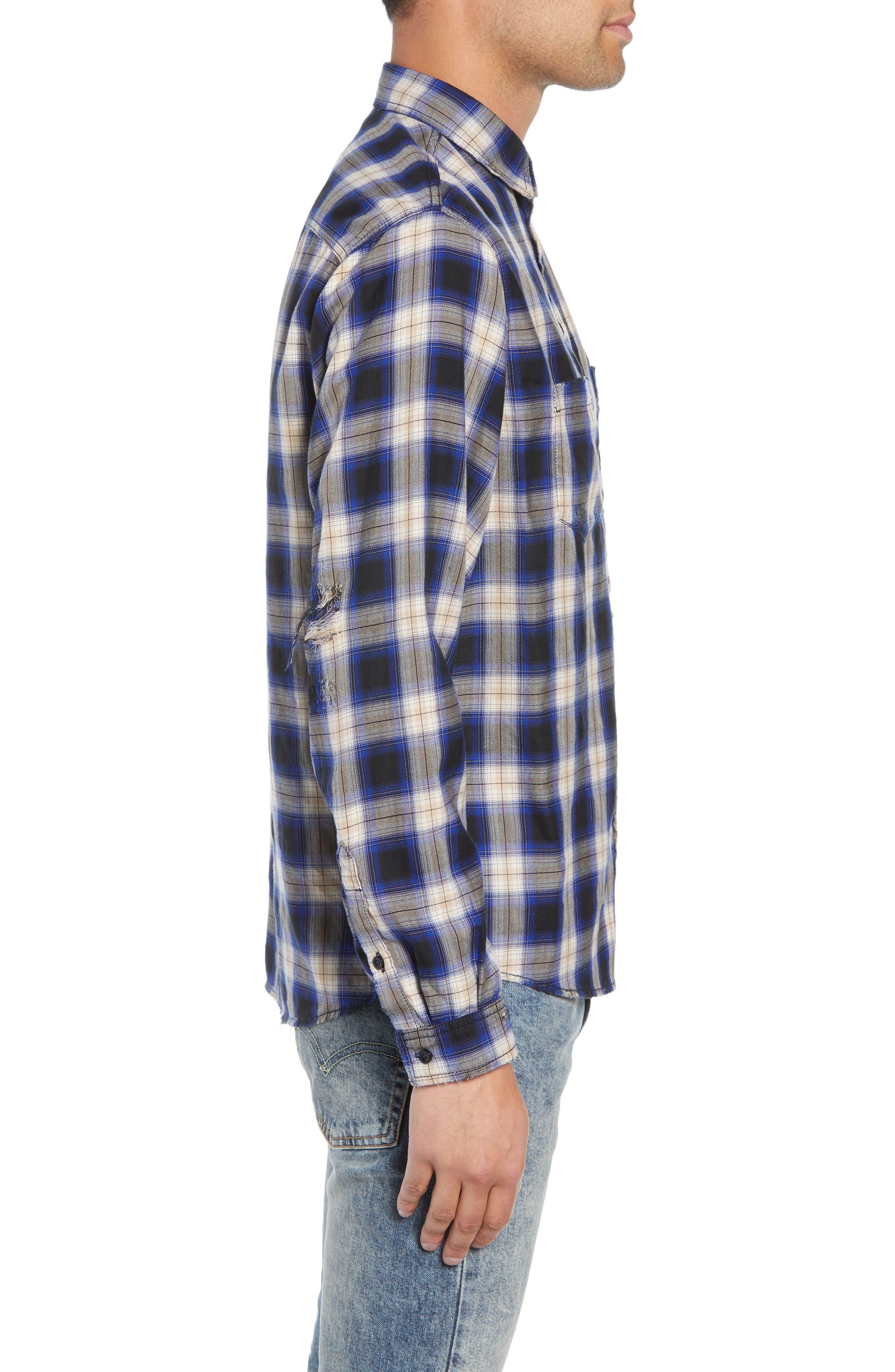 Classic Fit Distressed Plaid Shirt,                             Alternate thumbnail 4, color,                             400