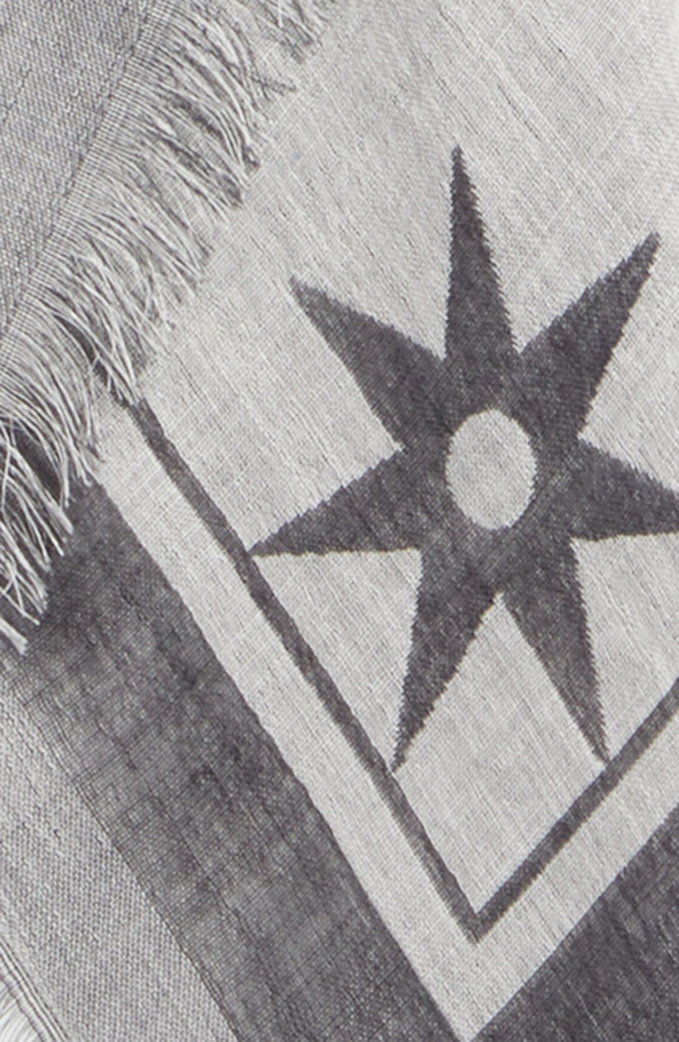Iconic Flash Jacquard Silk & Wool Shawl,                             Alternate thumbnail 4, color,                             BLACK/ WHITE