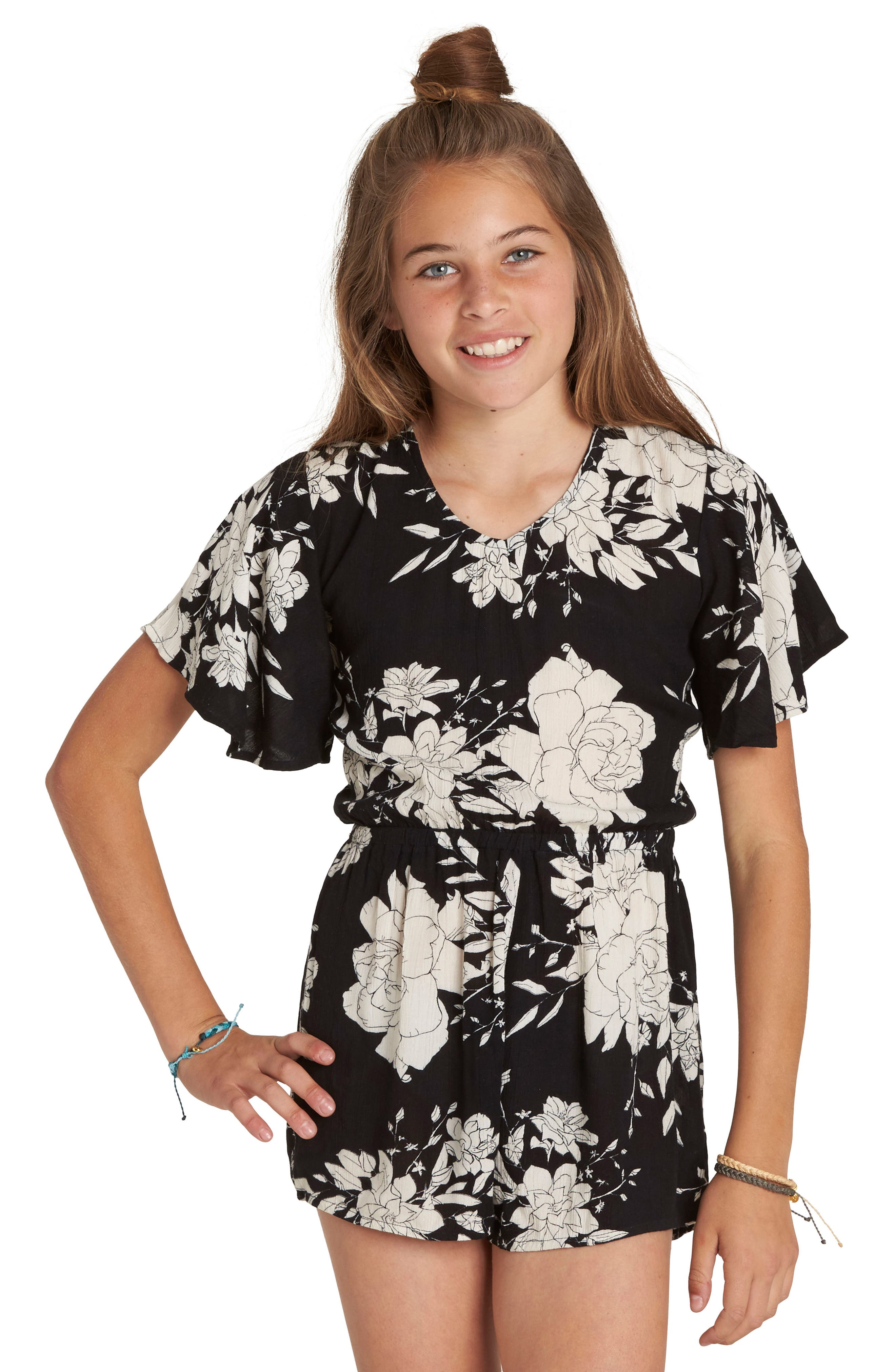Night Flower Print Romper,                             Alternate thumbnail 4, color,