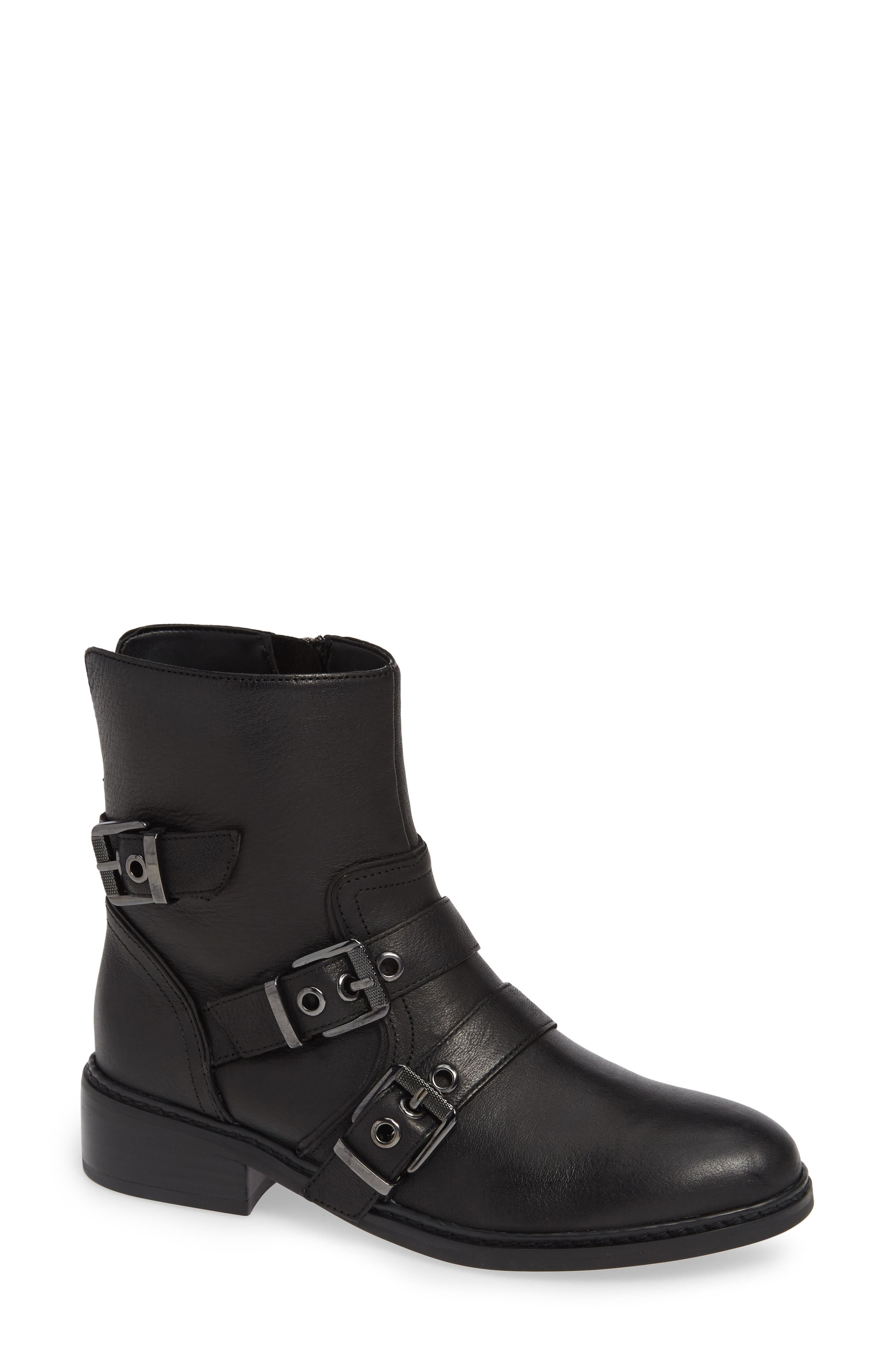 KENDALL AND KYLIE Nori Buckle Strap Bootie in Black Leather
