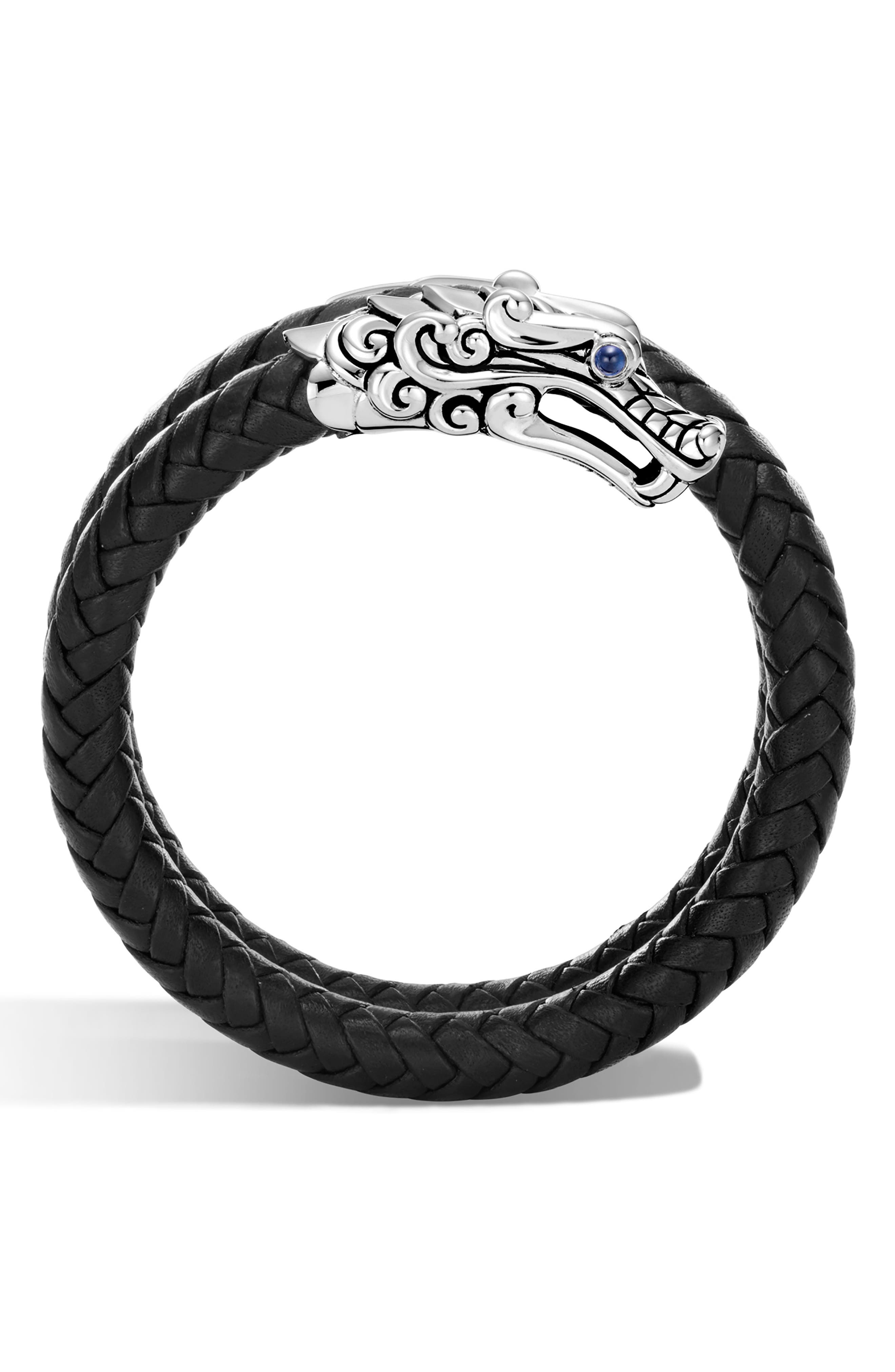 Sterling Silver Legends Naga Double Coil Bracelet With Braided Black Leather & Sapphire Eyes