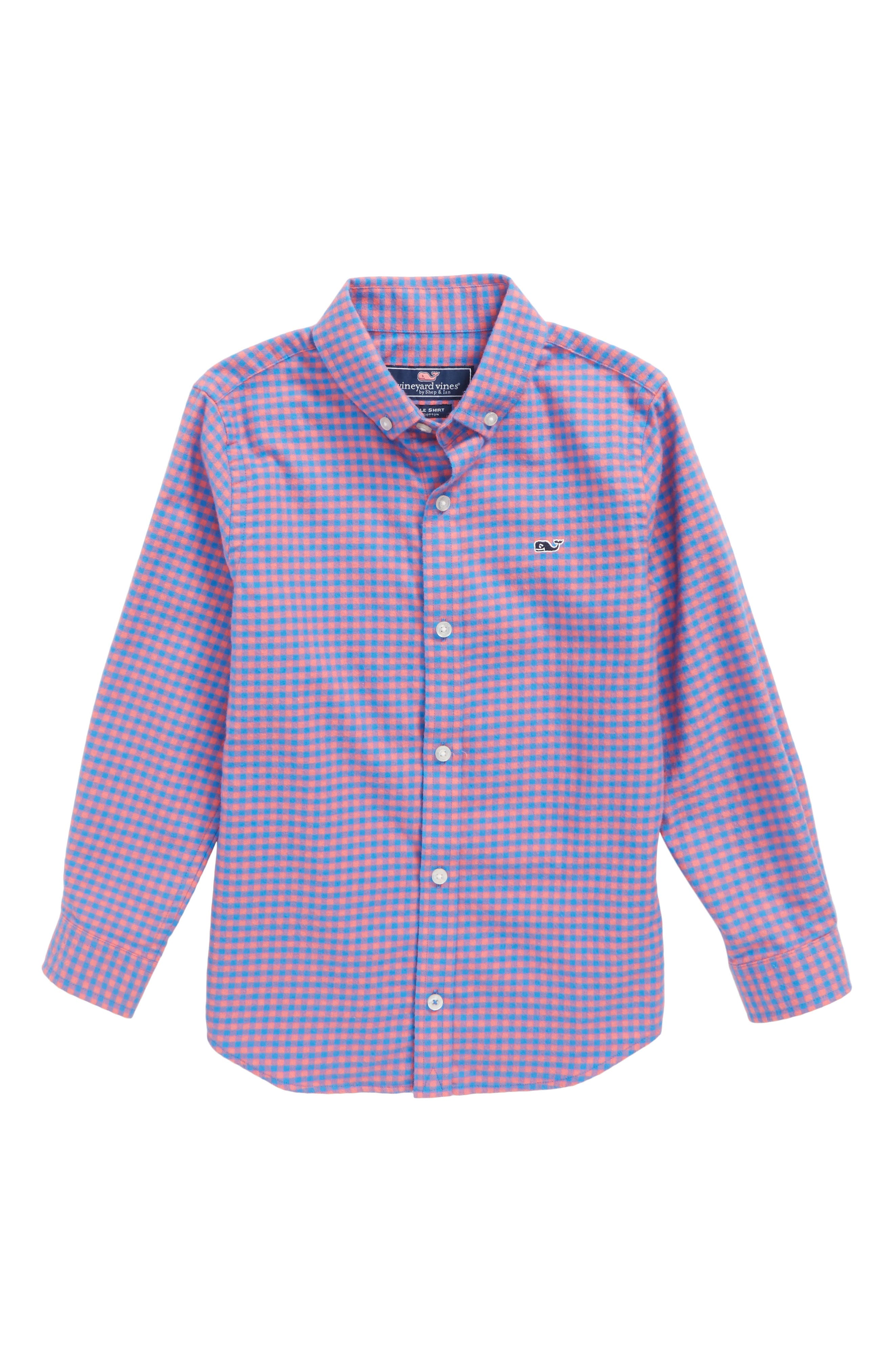 Sandy Point Plaid Whale Flannel Shirt,                         Main,                         color, 400