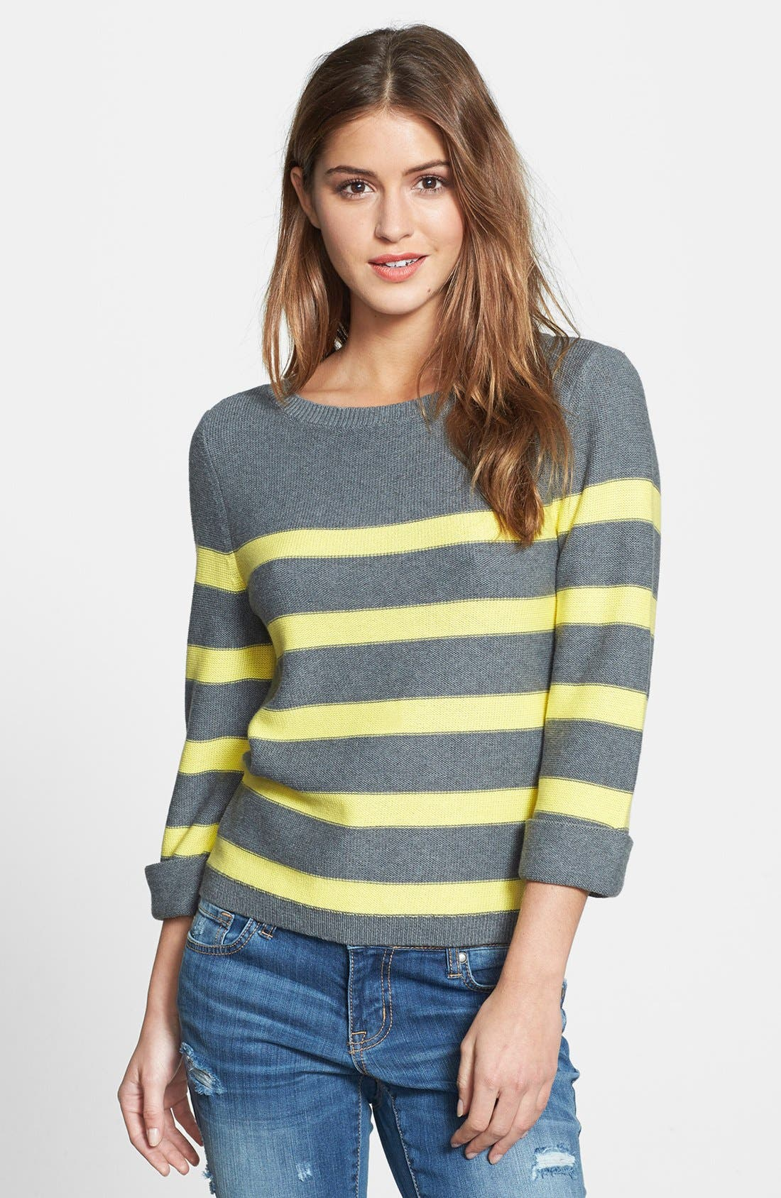 Three Quarter Sleeve Stripe Cotton Sweater,                         Main,                         color, 020
