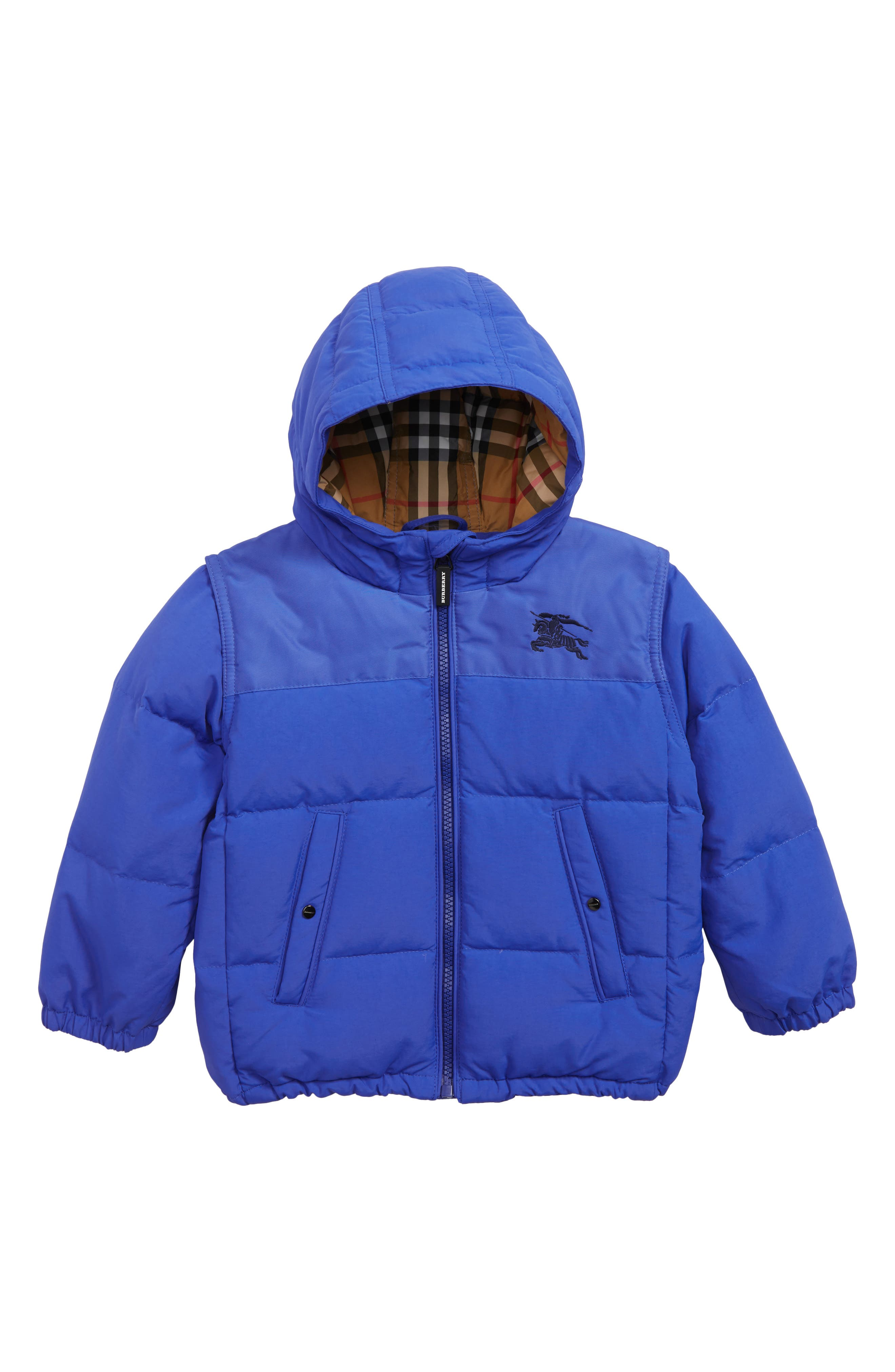 Toddler Boys Burberry Mini Ezra Hooded Down Jacket Size 2Y  Blue