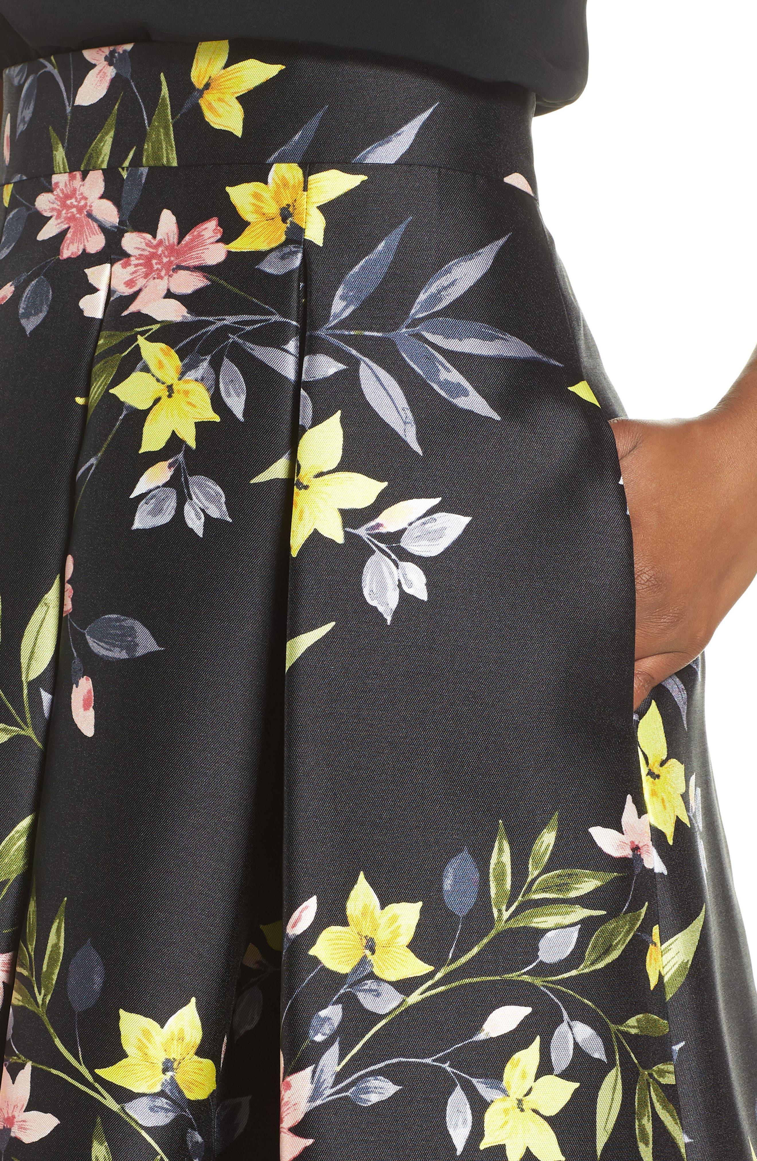 Floral A-Line Skirt,                             Alternate thumbnail 4, color,                             001