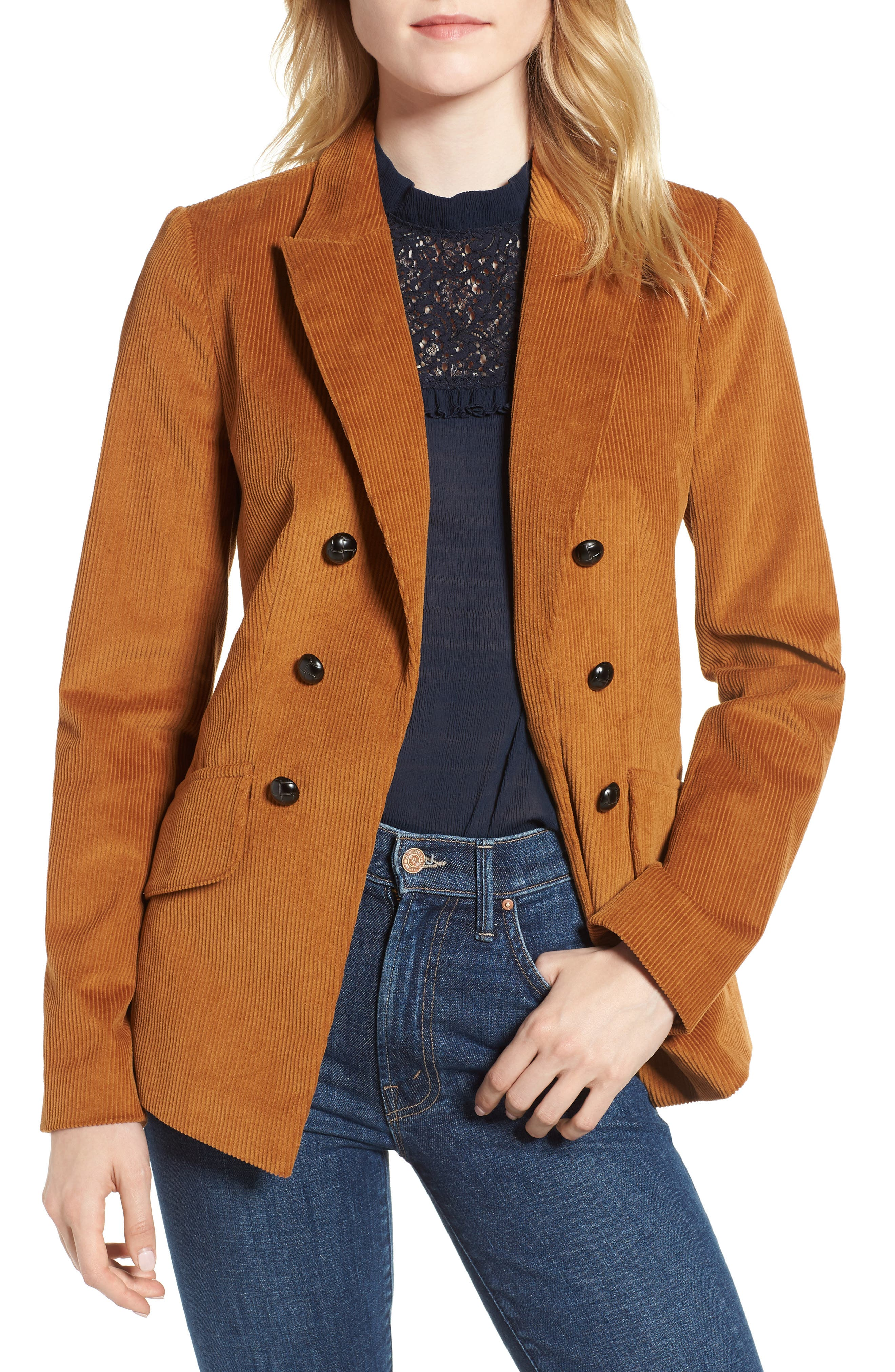 Double Breasted Corduroy Blazer,                         Main,                         color, 200