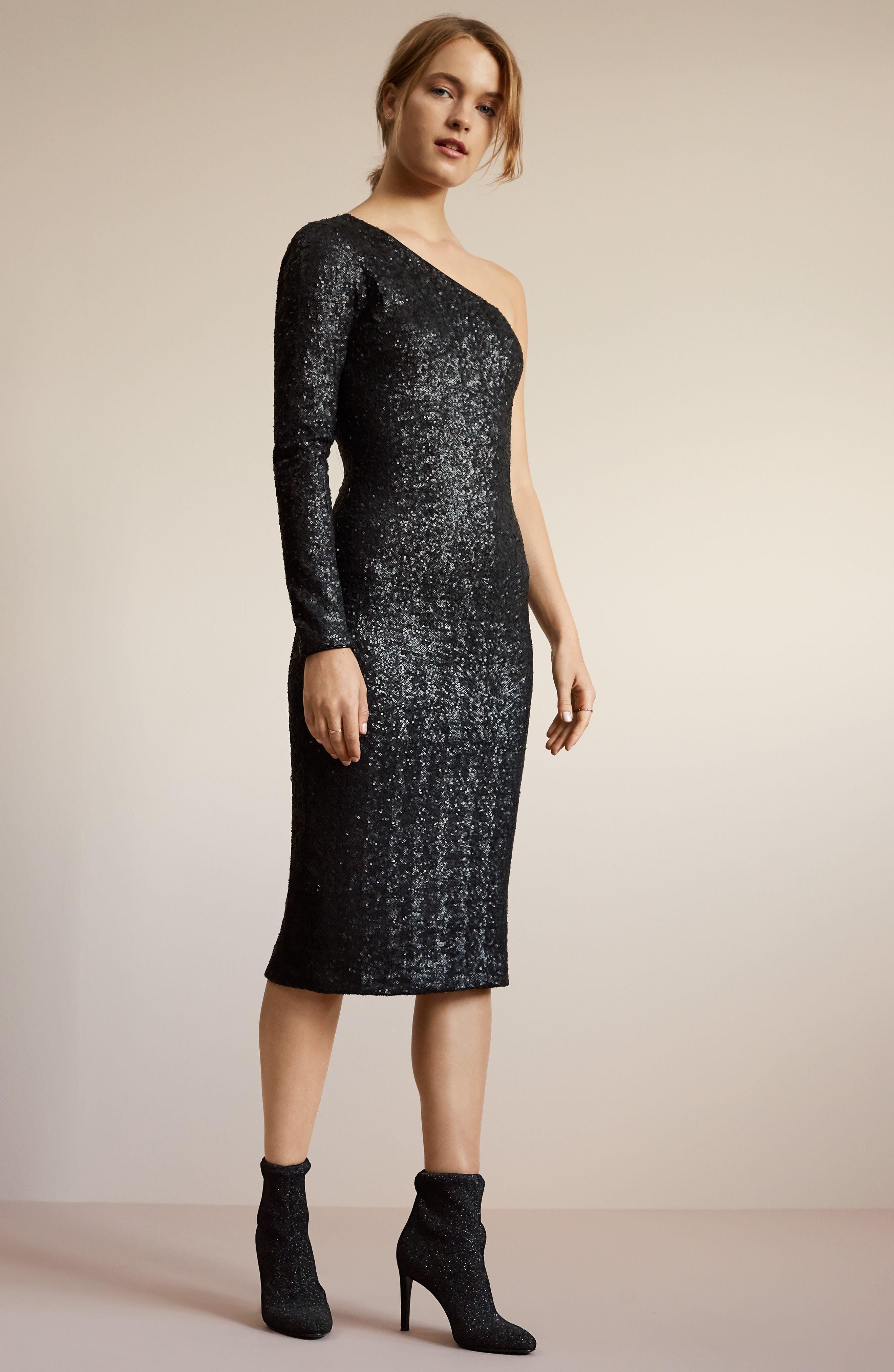 Chrissie Sequin One-Shoulder Dress,                             Alternate thumbnail 6, color,                             018