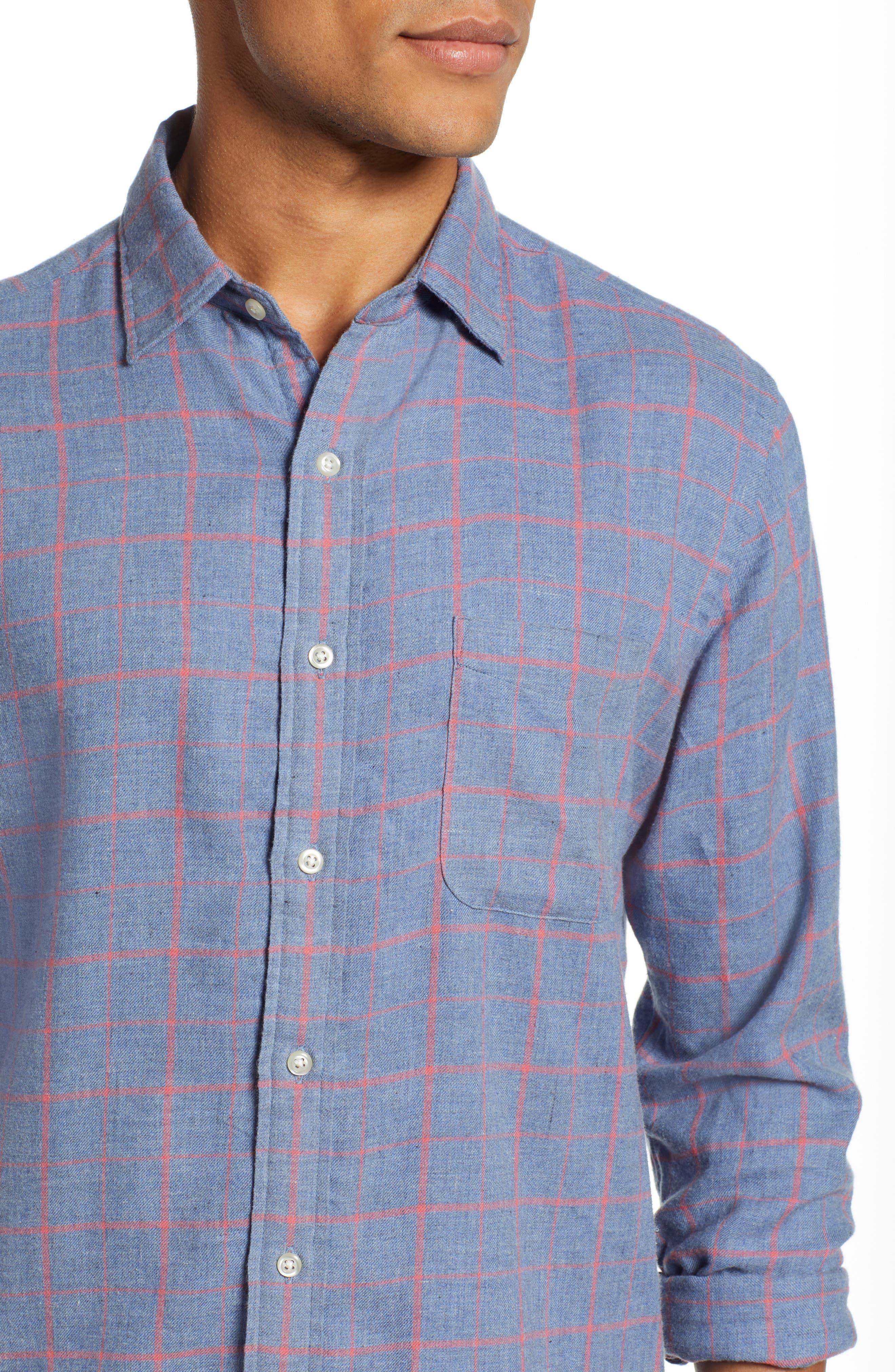 Ventura Windowpane Sport Shirt,                             Alternate thumbnail 2, color,                             BLUE MELANGE WINDOWPANE