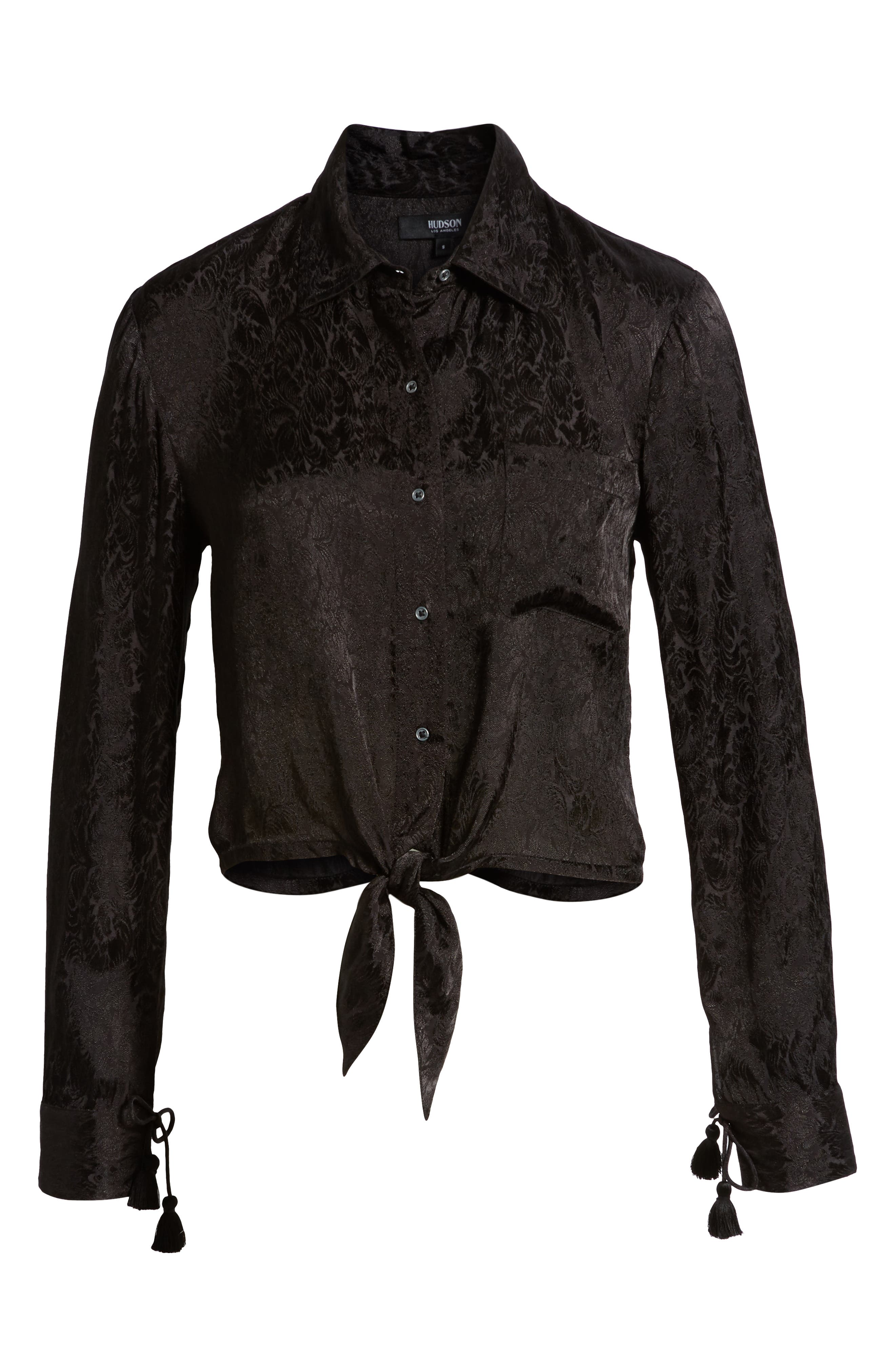 Embroidered Button Tie Blouse,                             Alternate thumbnail 6, color,                             BLACK