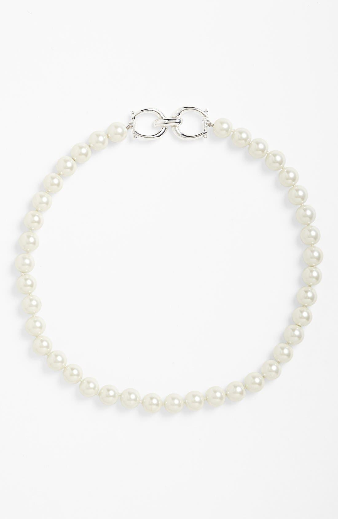 Glass Pearl Collar Necklace,                             Alternate thumbnail 2, color,                             100