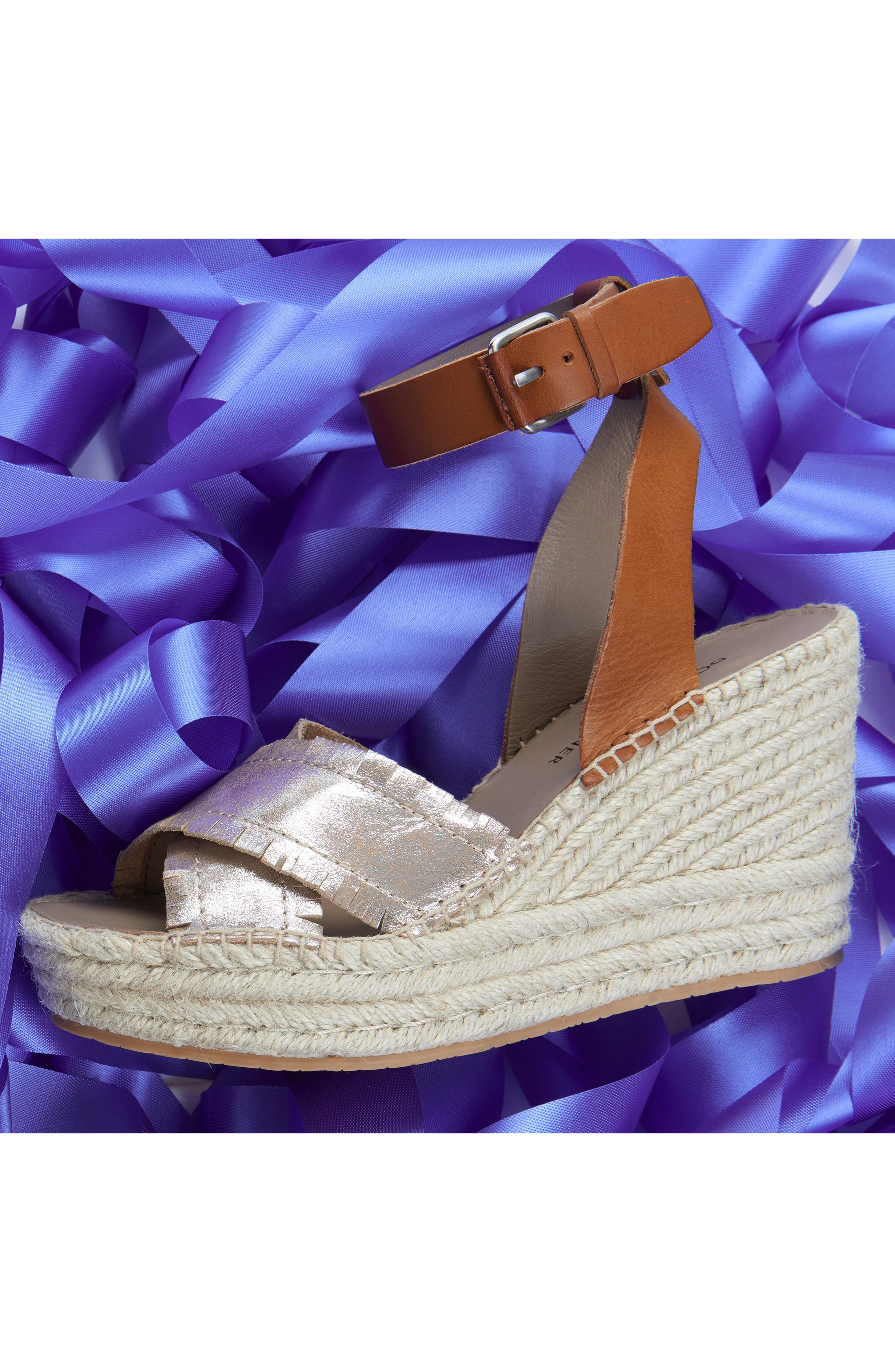 Ines Espadrille Wedge Sandal,                             Alternate thumbnail 7, color,                             SILVER LEATHER