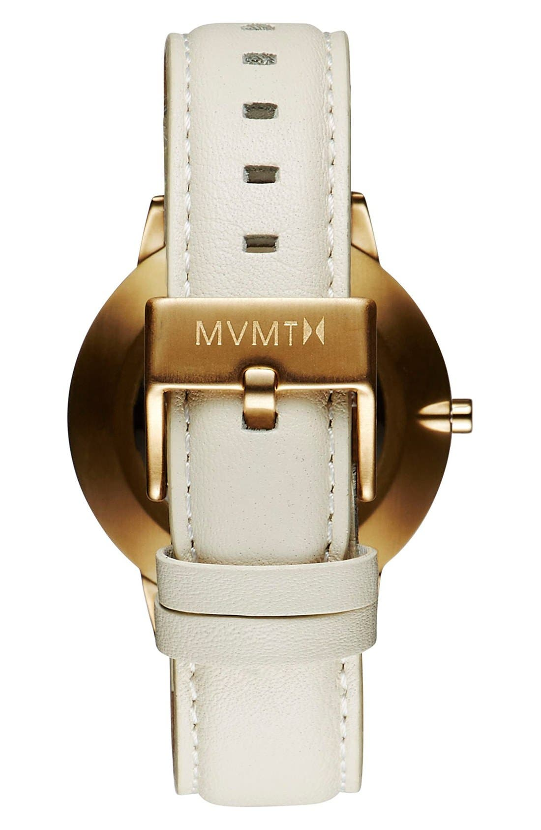 Boulevard Leather Strap Watch, 38mm,                             Alternate thumbnail 4, color,                             CREAM/ MOTHER OF PEARL/ GOLD
