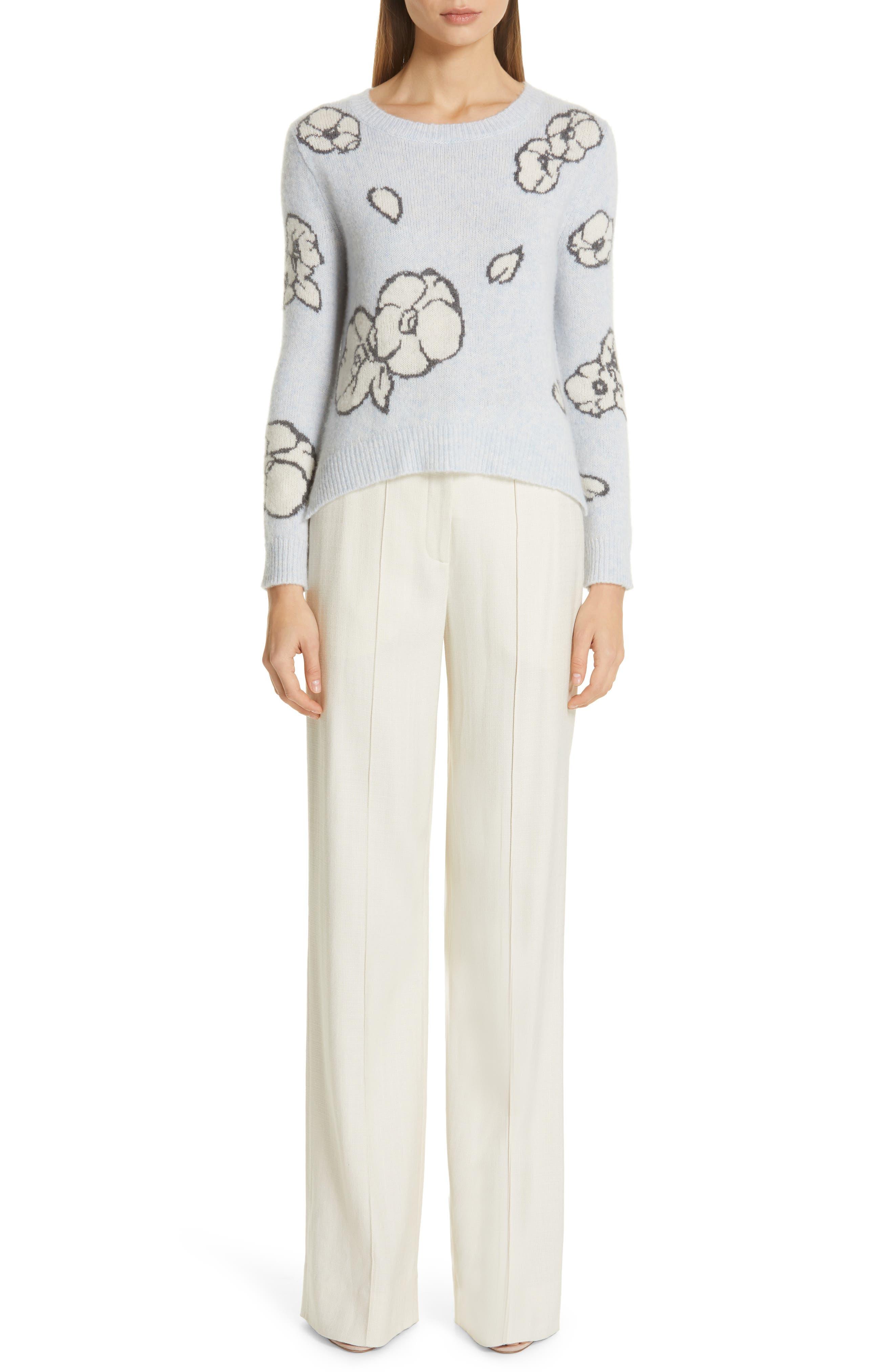 Intarsia Brushed Cashmere & Silk Sweater,                             Alternate thumbnail 8, color,                             ICE BLUE MULTI