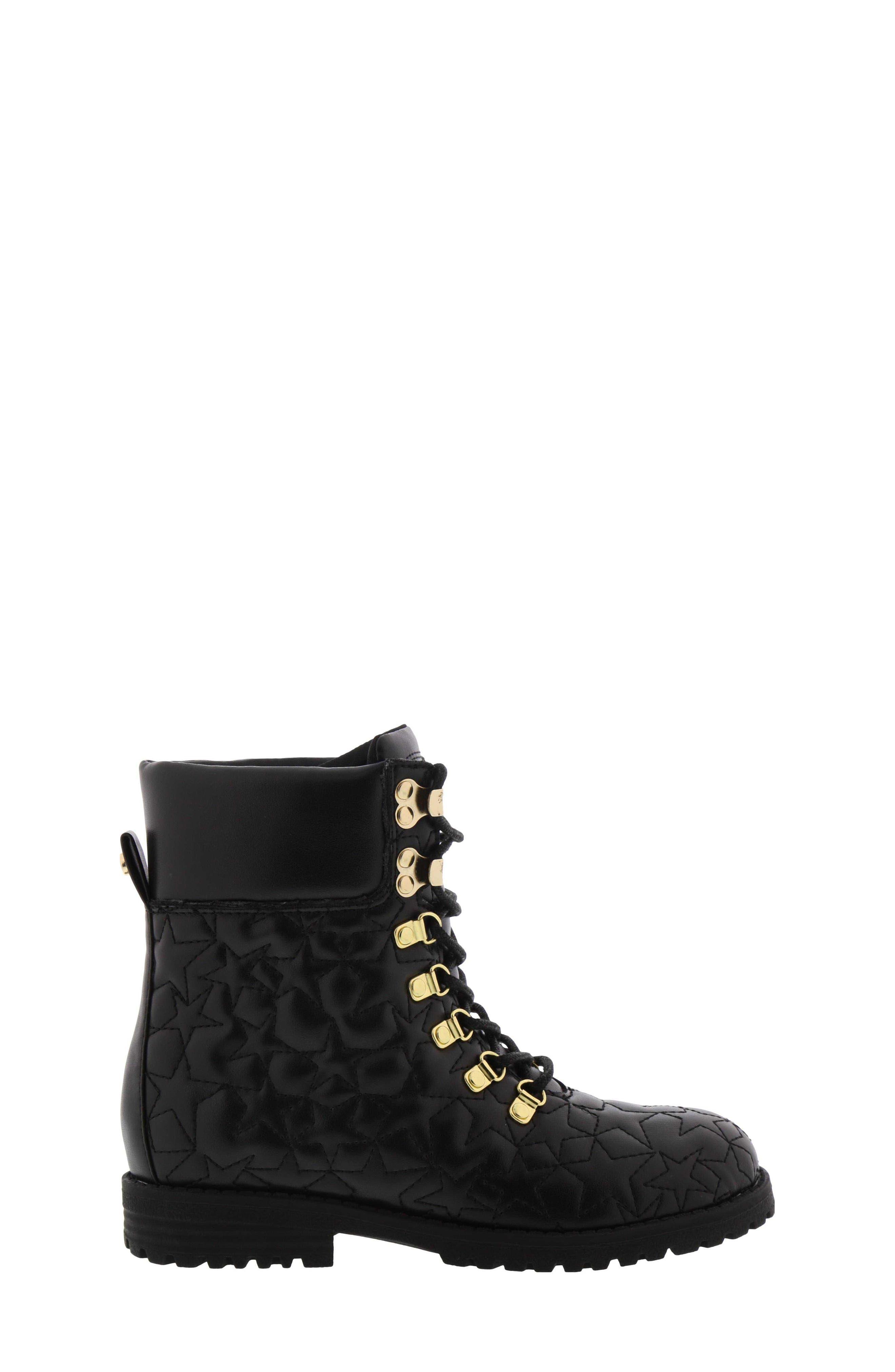 Sam Edelmen Jess Star Quilted Boot,                             Alternate thumbnail 3, color,                             BLACK GOLD