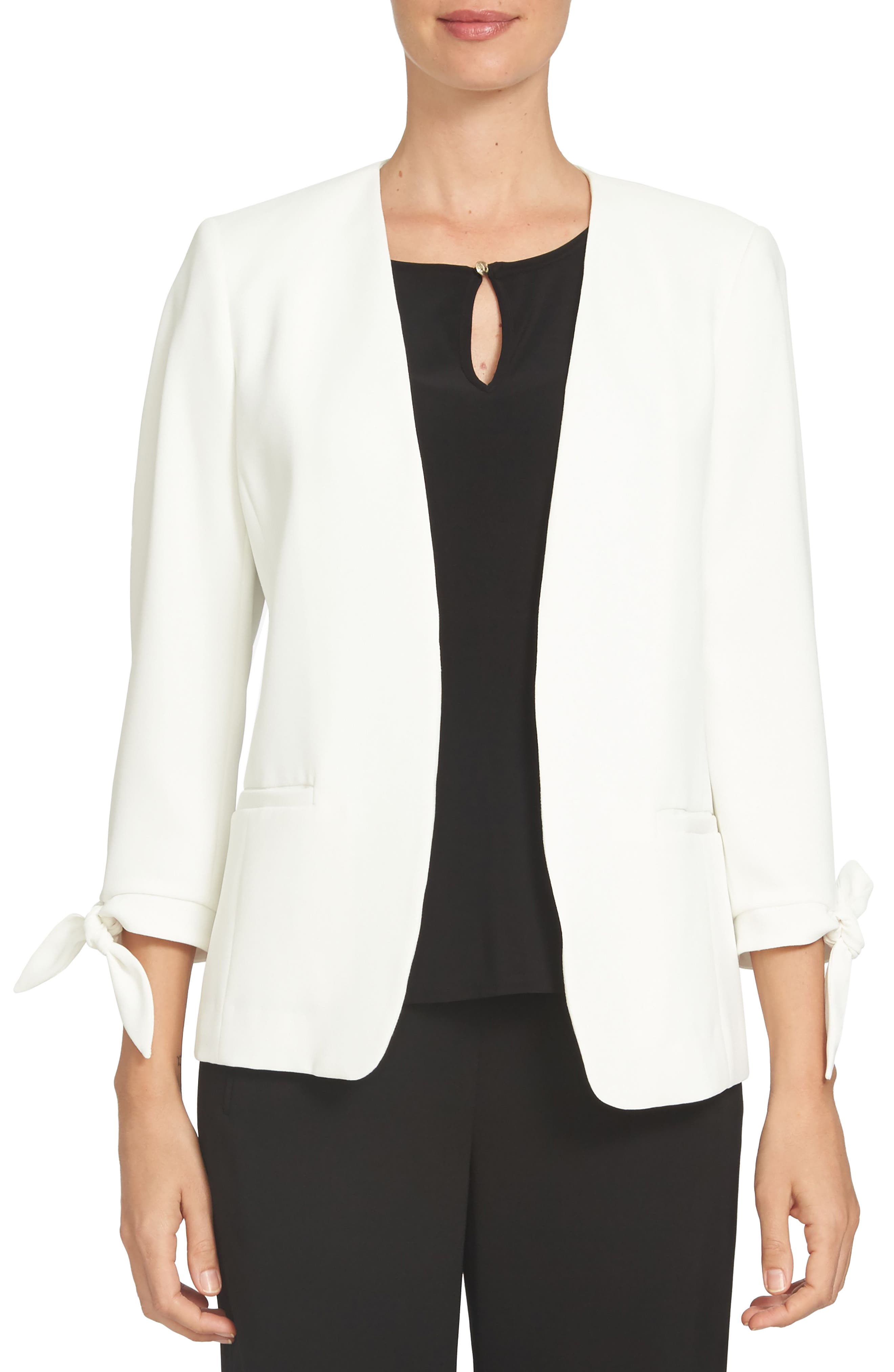 Tie Sleeve Open Front Blazer,                             Main thumbnail 1, color,                             NEW IVORY
