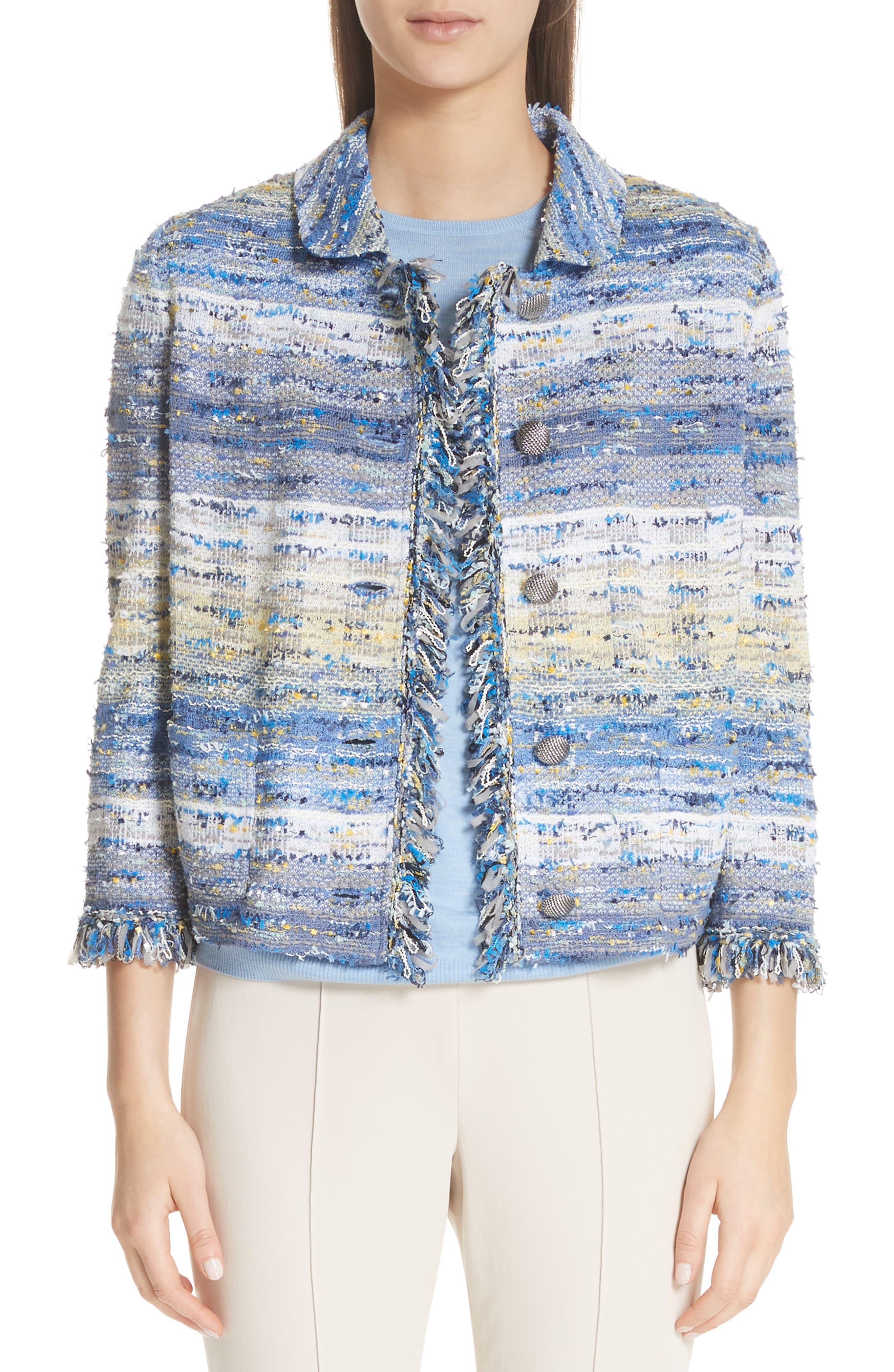 ST. JOHN Chelsea 3/4-Sleeve Tweed Knit Jacket in Blue
