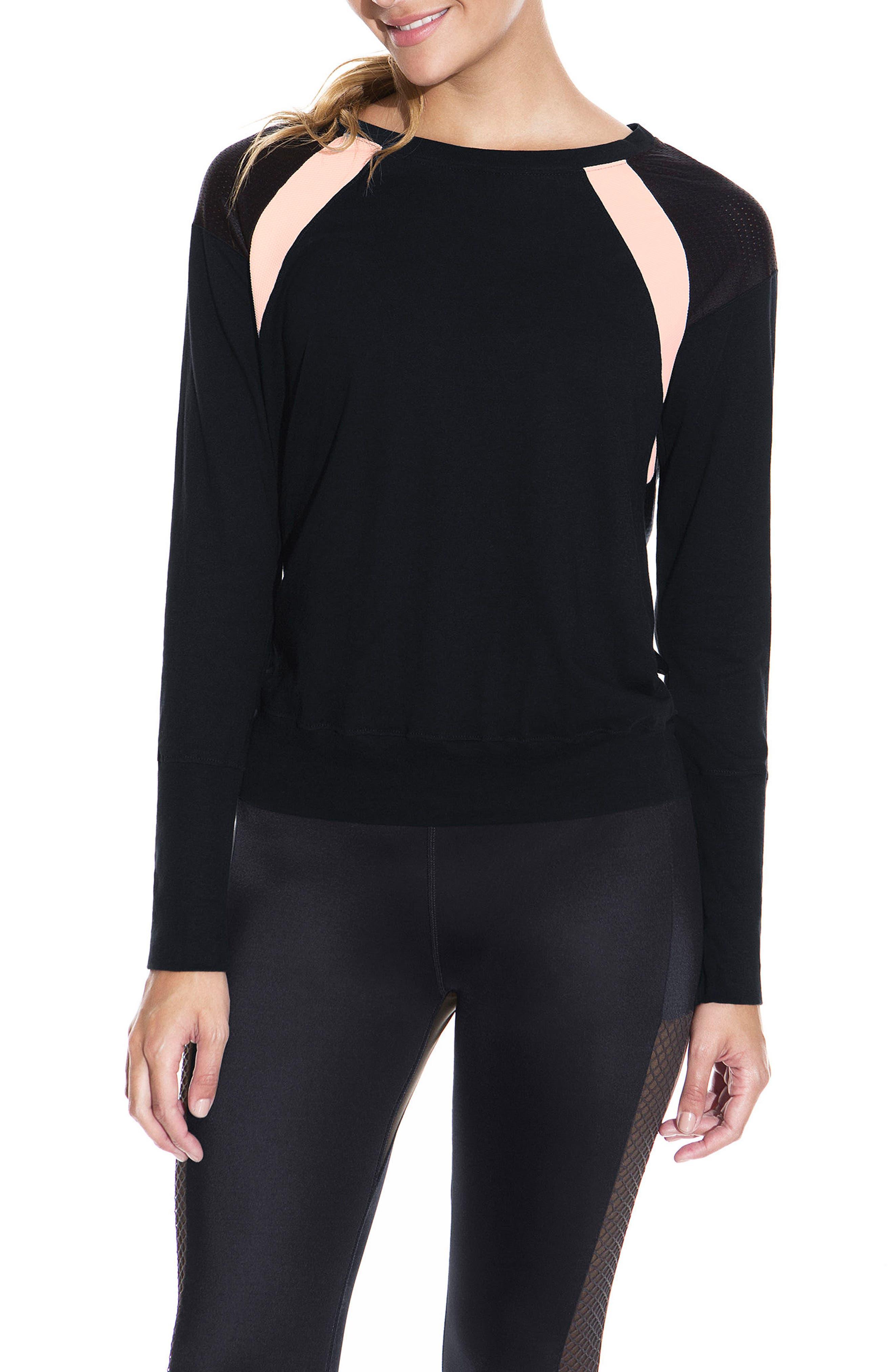 Mesh Shoulder Long Sleeve Top,                         Main,                         color, 001