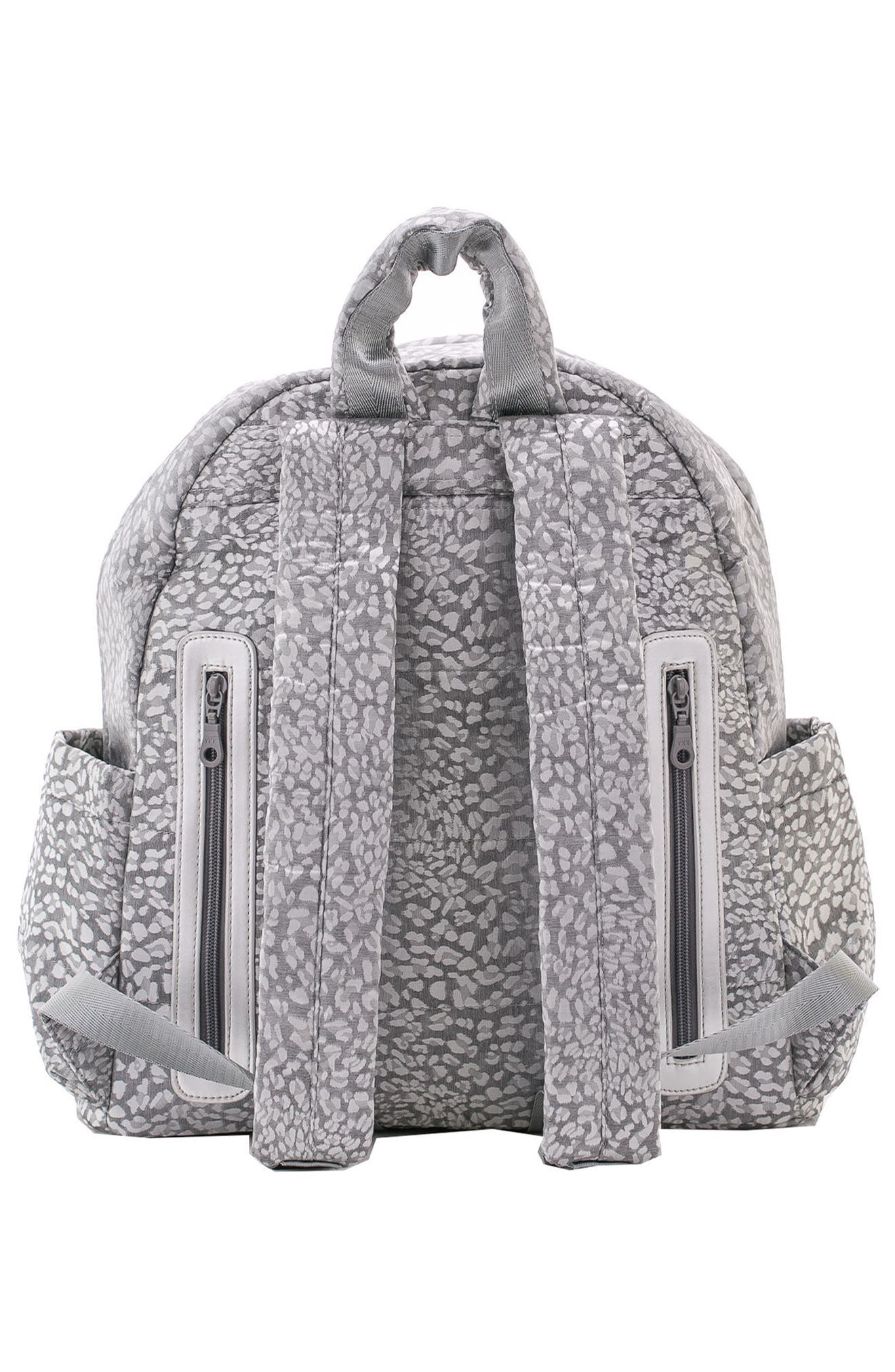 Print Water Repellent Diaper Backpack,                             Alternate thumbnail 3, color,                             SILVER LEOPARD