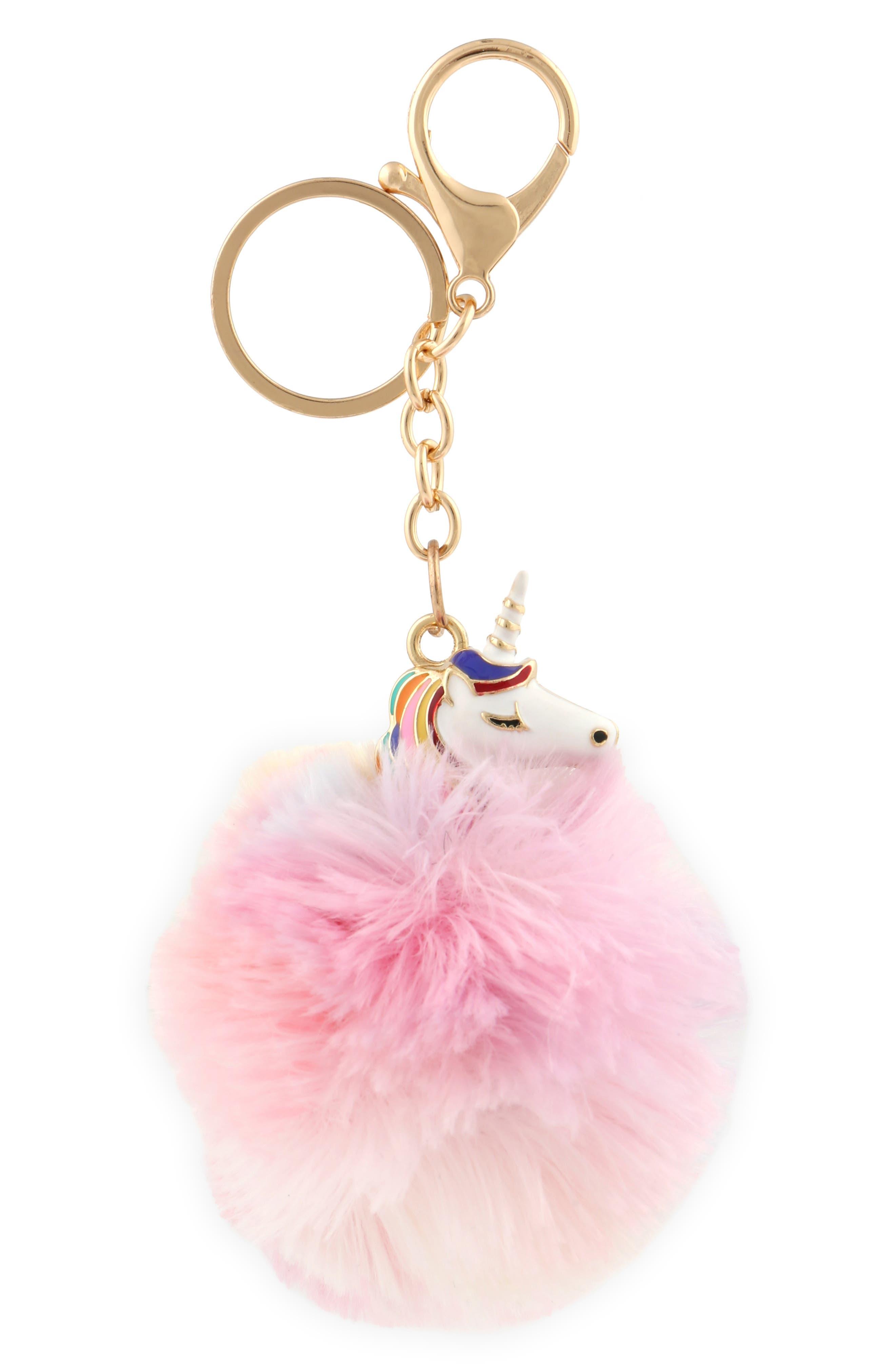 Unicorn Pom Key Chain,                         Main,                         color, 900