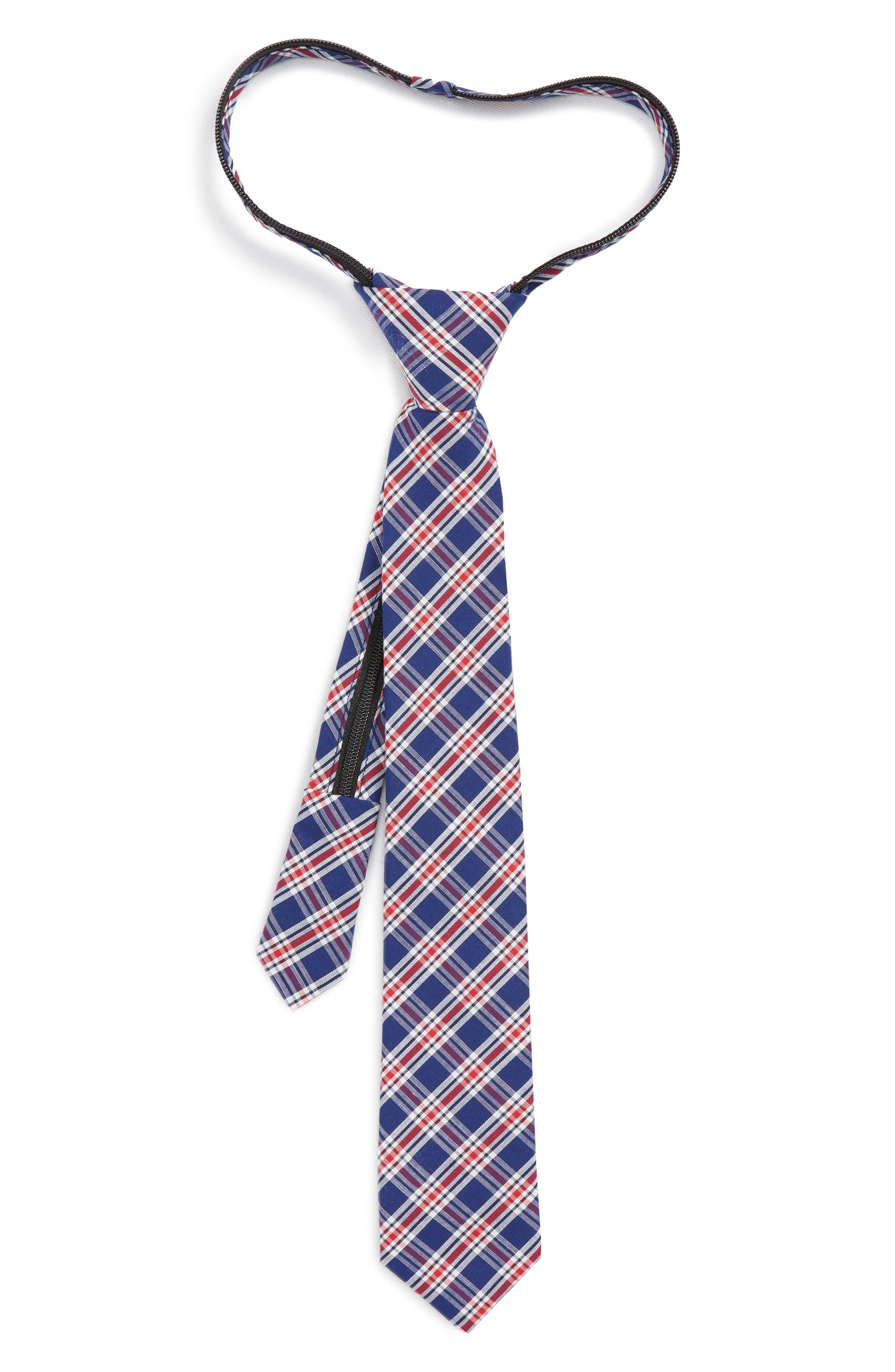 Plaid Cotton Zip Tie,                             Main thumbnail 1, color,                             600