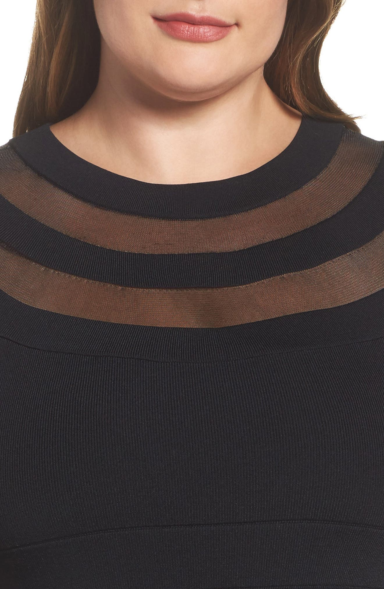 Sheer Inset Knit Sheath Dress,                             Alternate thumbnail 4, color,                             001