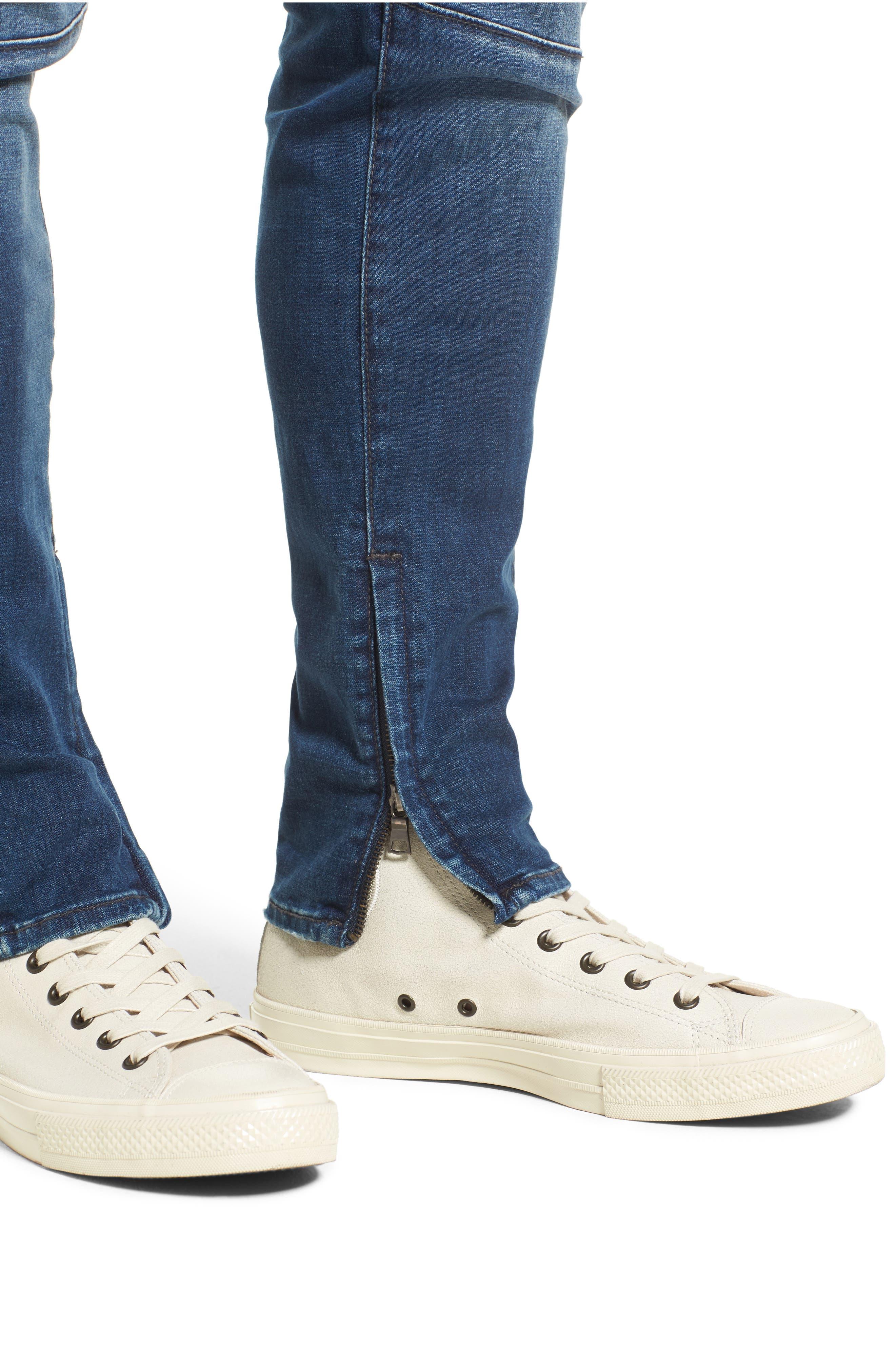 Racer Skinny Fit Jeans,                             Alternate thumbnail 4, color,                             WHISKEY BLUES