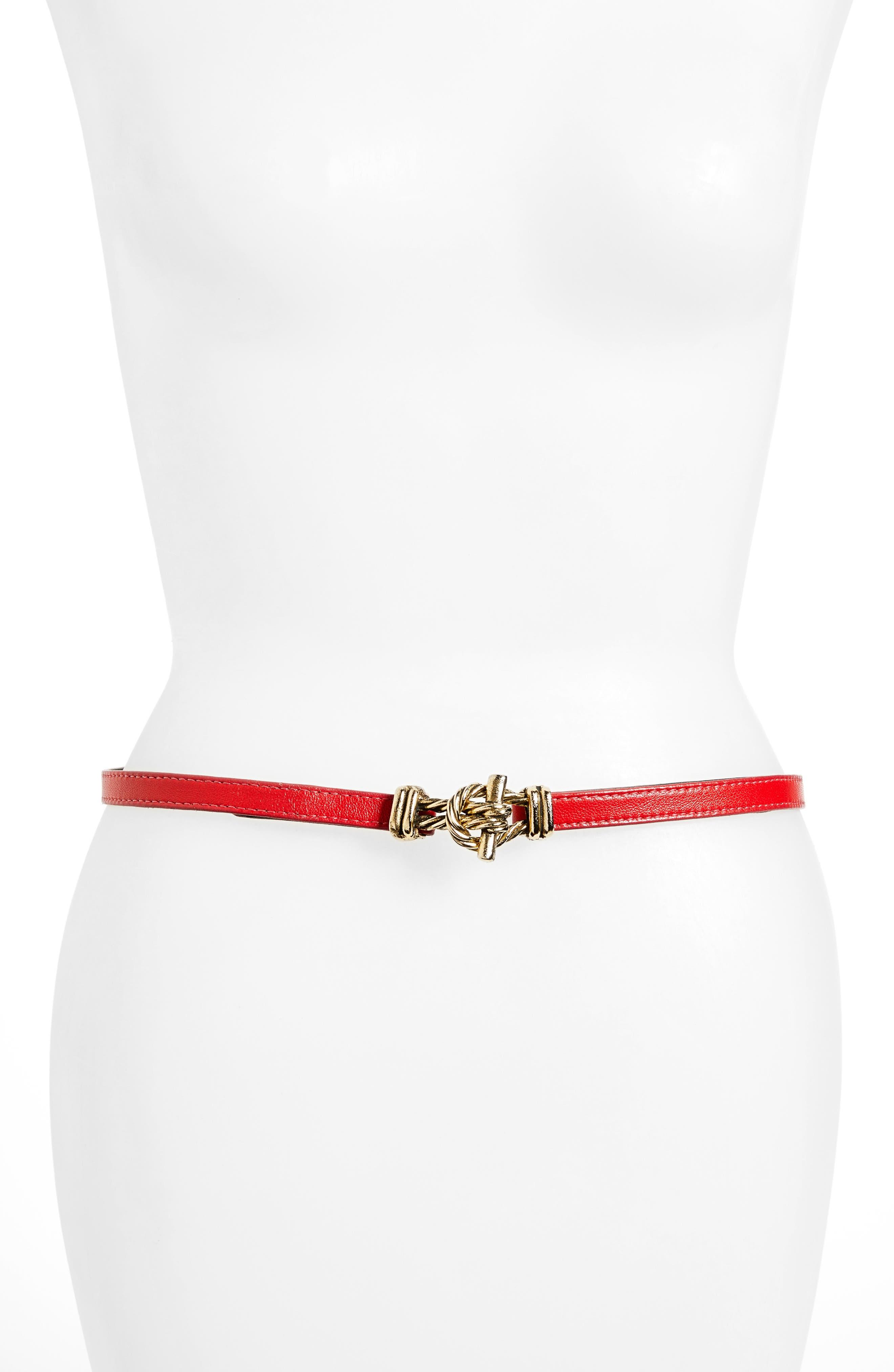Raina Fitzgerald Leather Belt, Size One Size - Red