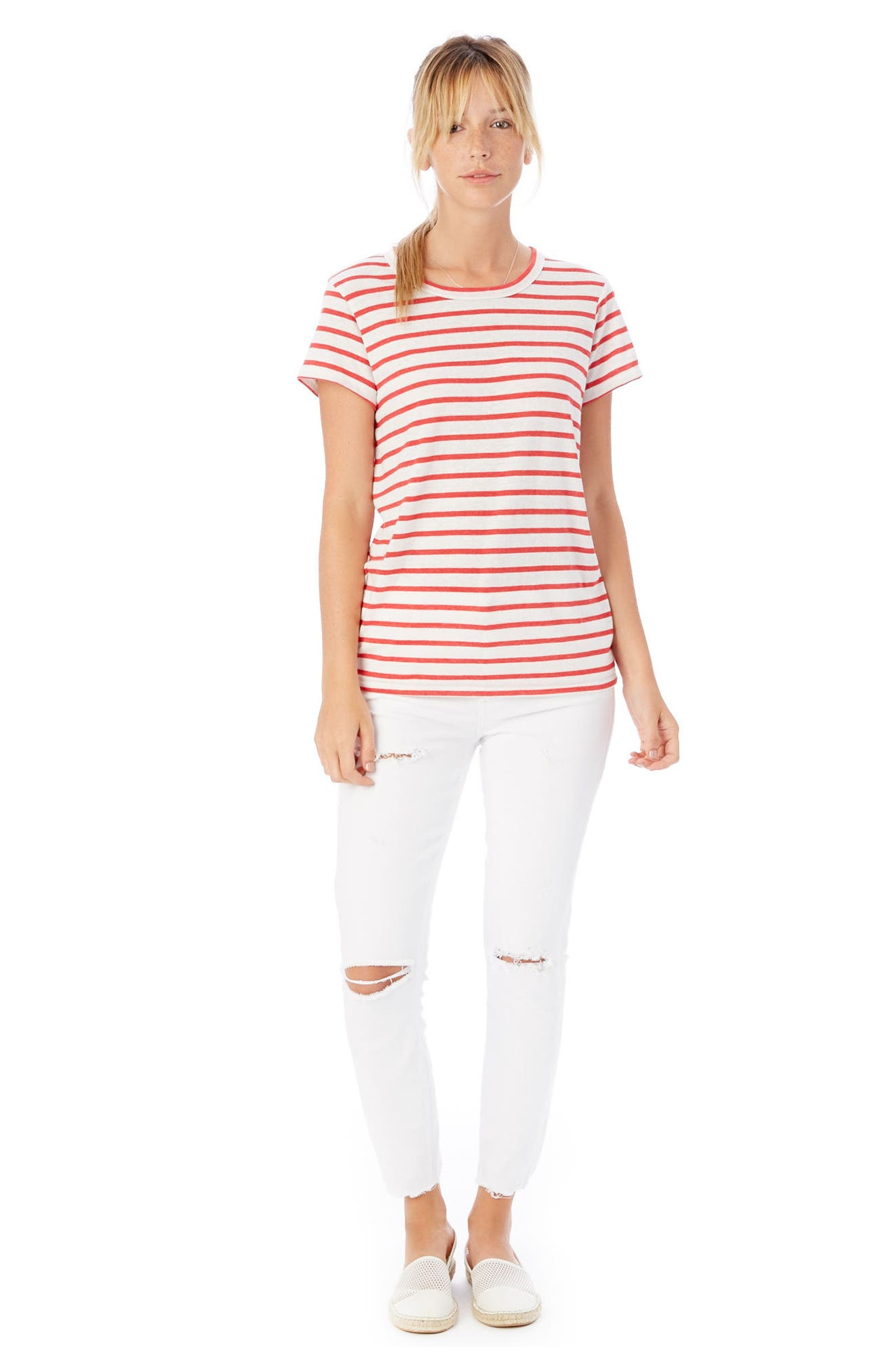 Ideal Stripe Lounge Tee,                             Alternate thumbnail 2, color,                             RED RIVIERA STRIPE
