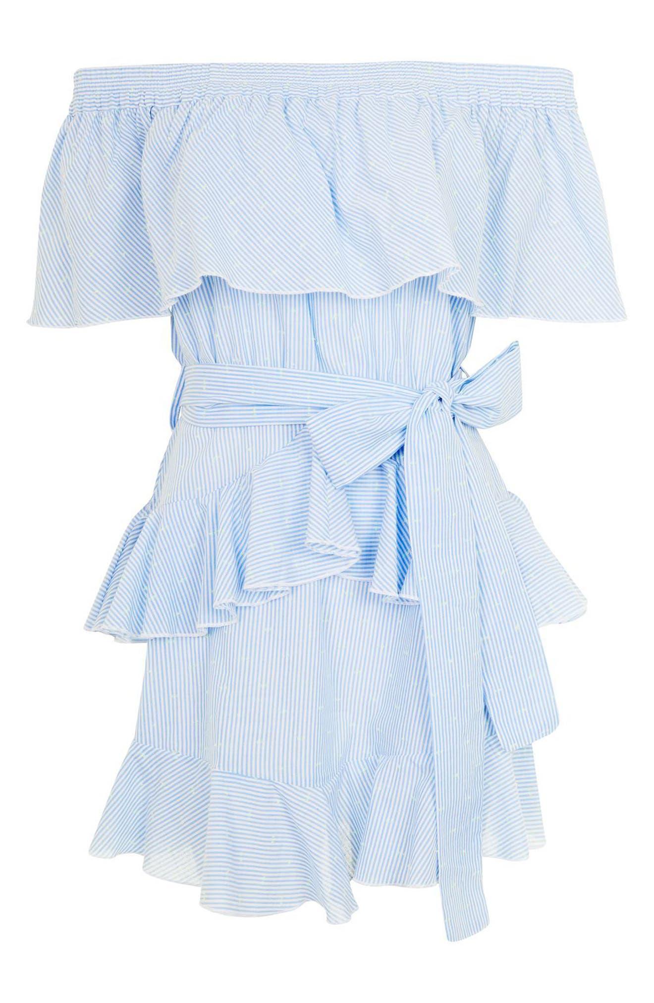 TOPSHOP,                             Bardot Ruffle Stripe Dress,                             Alternate thumbnail 3, color,                             450