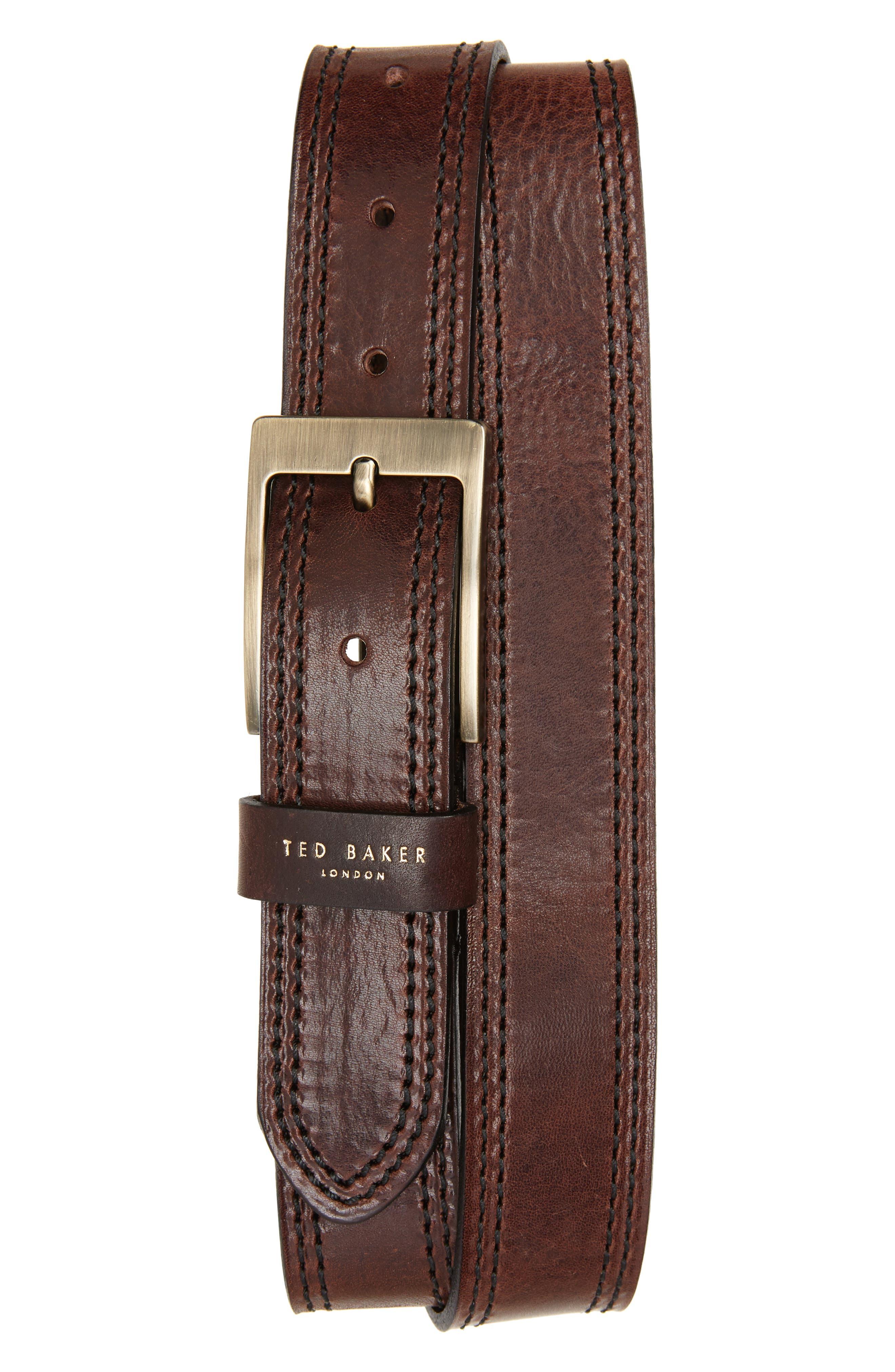 Crikiit Stitched Leather Belt,                             Main thumbnail 2, color,
