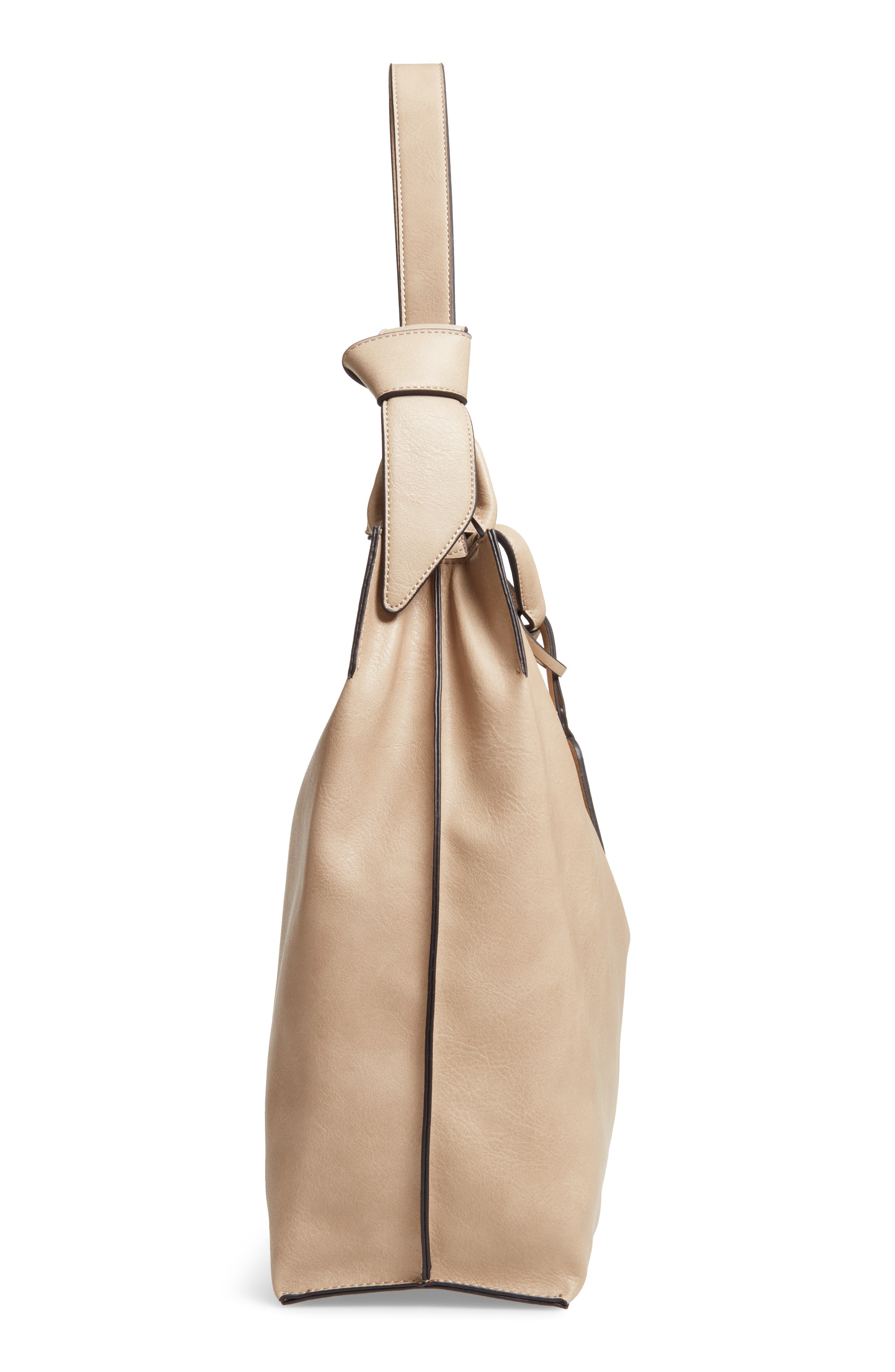 Josah Faux Leather Shoulder Bag,                             Alternate thumbnail 6, color,                             SAFARI