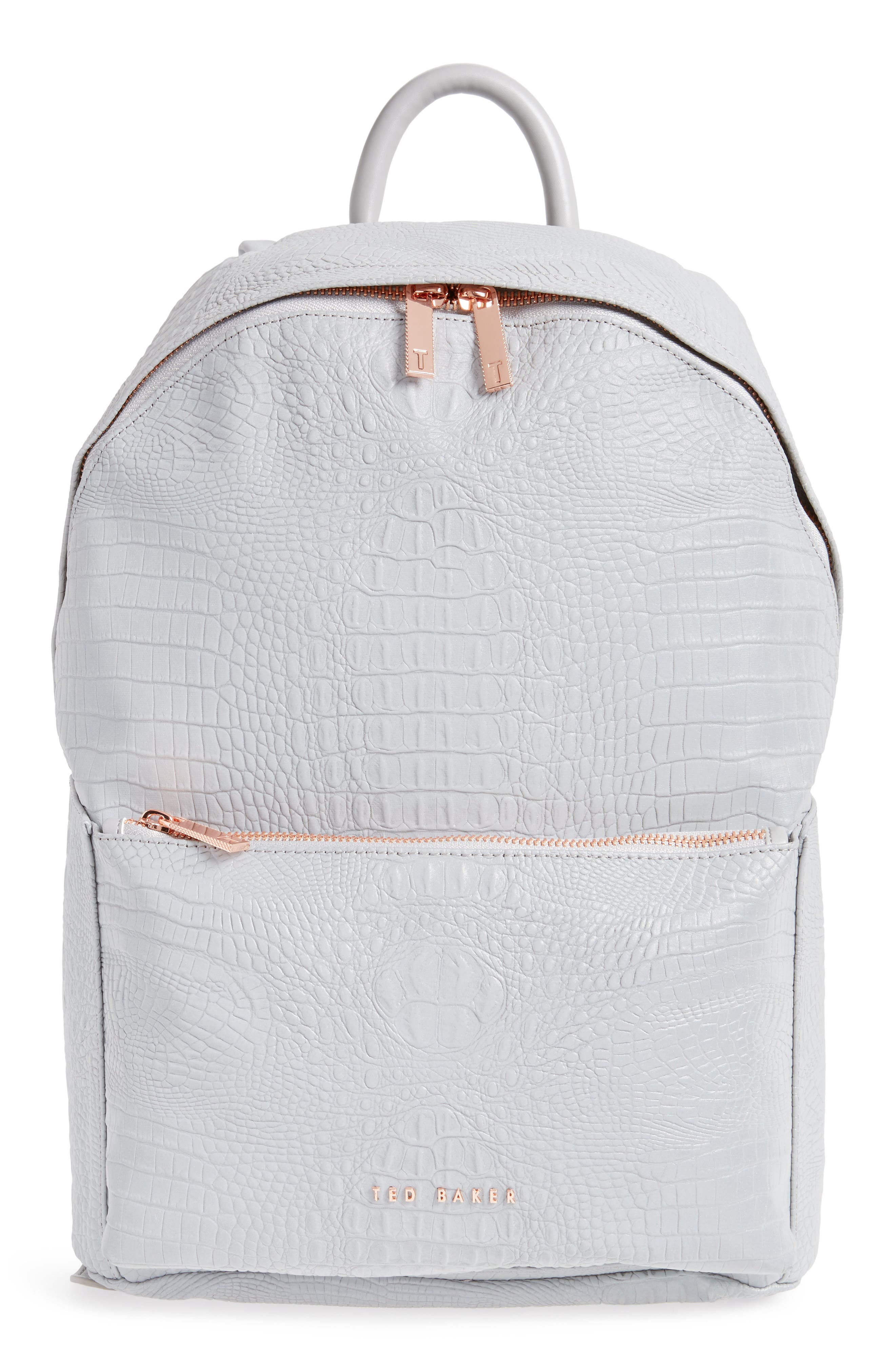 Rahri Reflective Croc Embossed Faux Leather Backpack,                         Main,                         color, 050