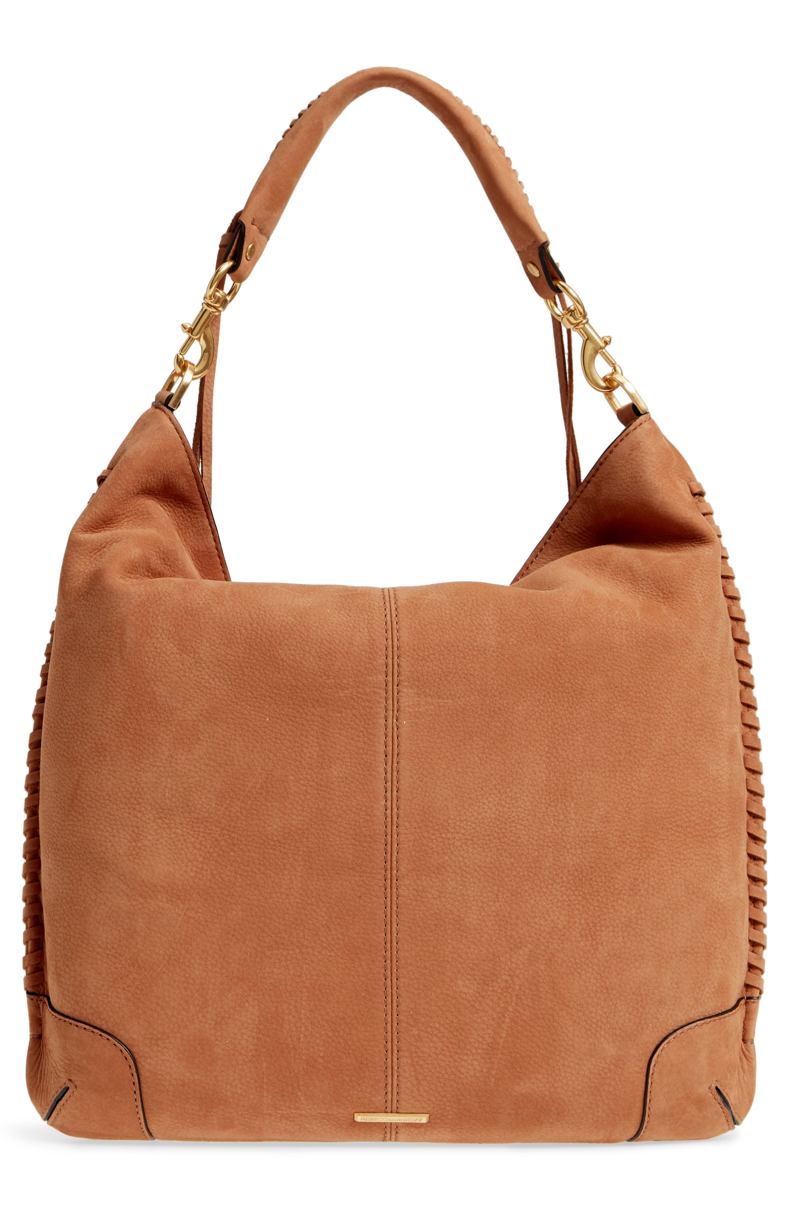 Slim Regan Leather Hobo,                             Alternate thumbnail 4, color,                             ALMOND
