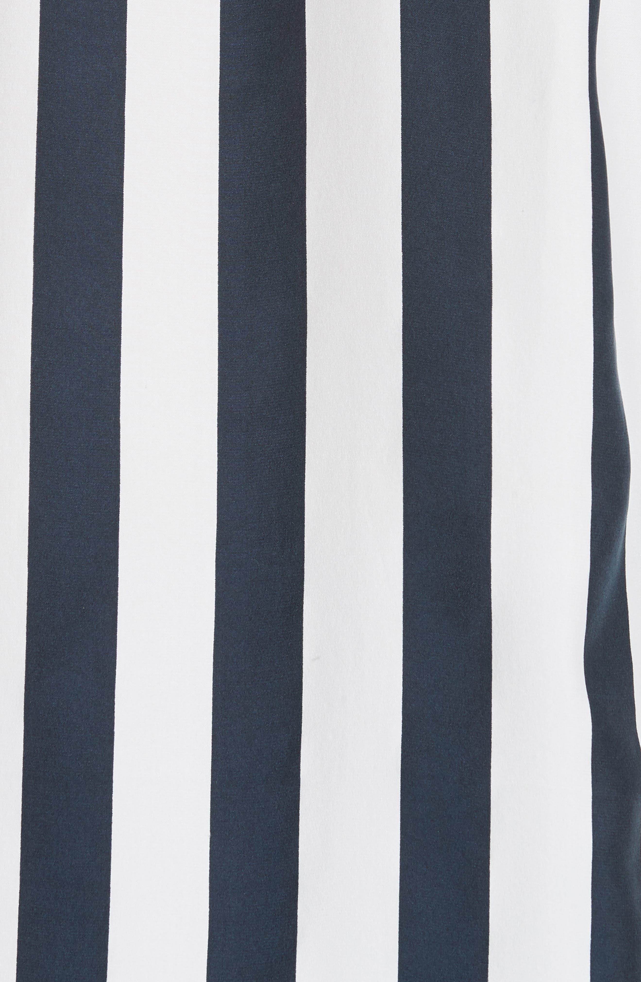 Stripe Silk Shirt,                             Alternate thumbnail 5, color,                             NAVY MULTI