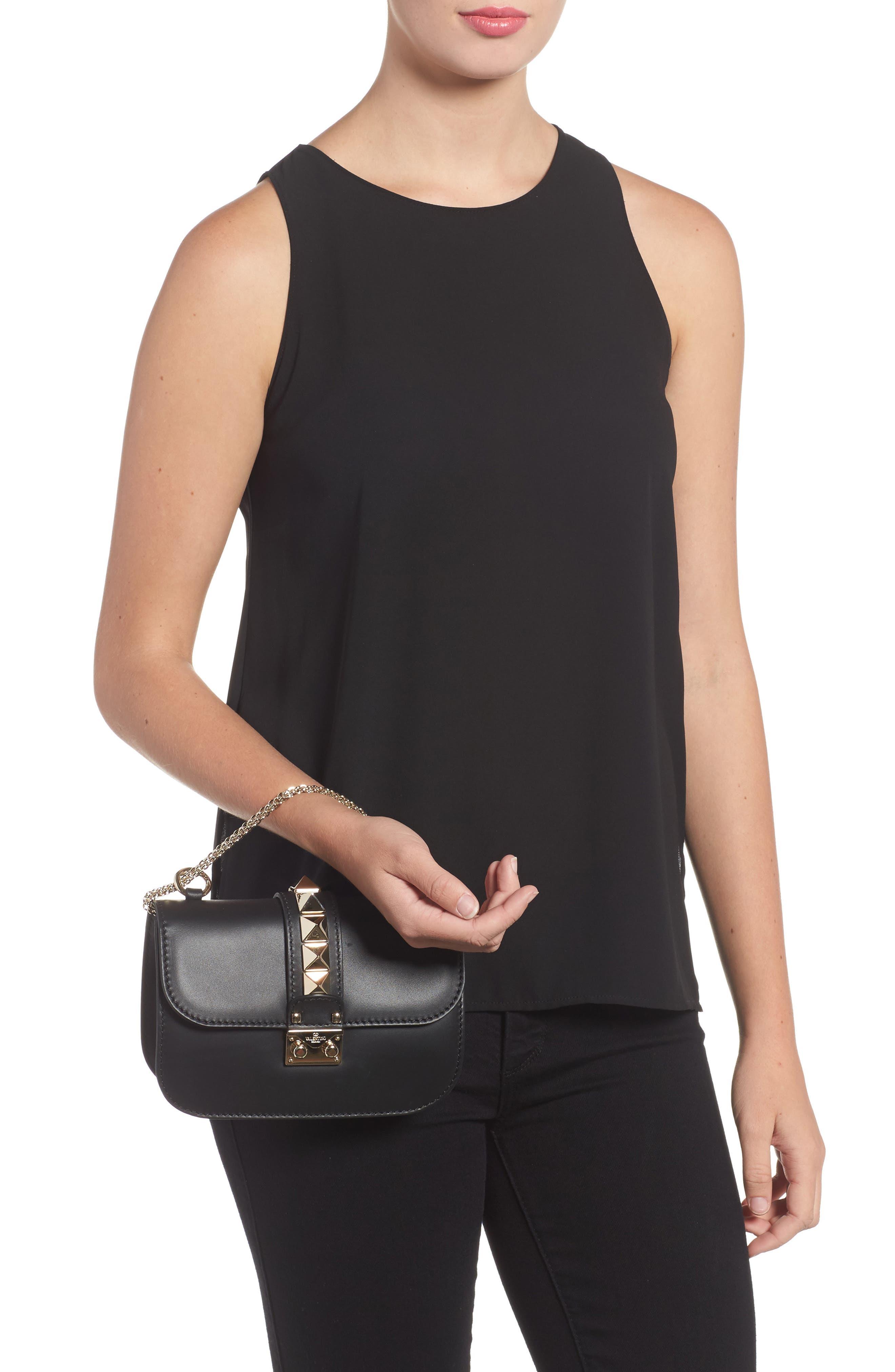 Small Lock Leather Crossbody Bag,                             Alternate thumbnail 2, color,                             NERO