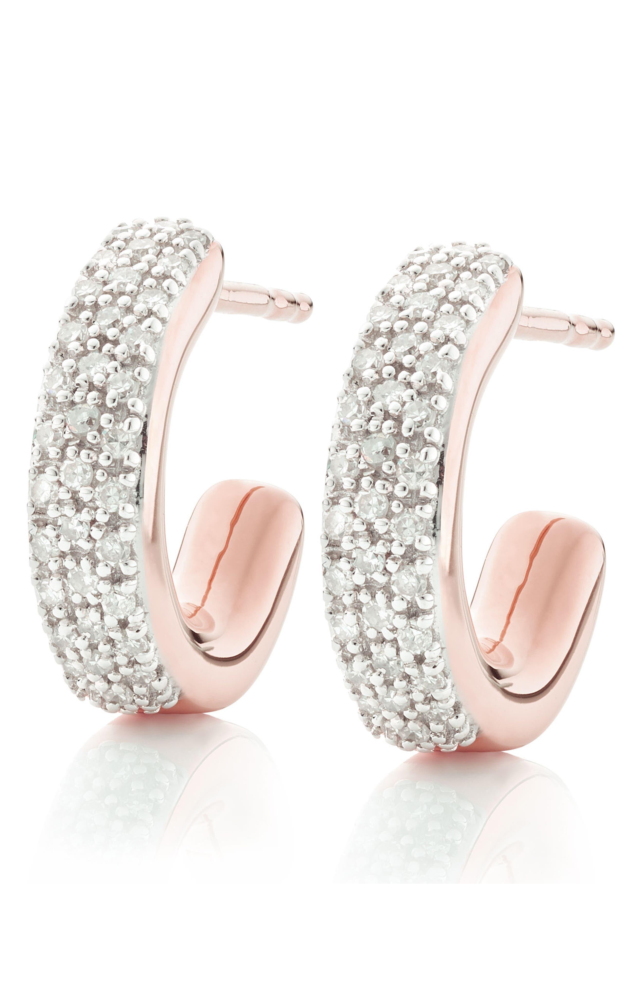Fiji Mini Diamond Hoop Earrings,                             Alternate thumbnail 4, color,                             ROSE GOLD
