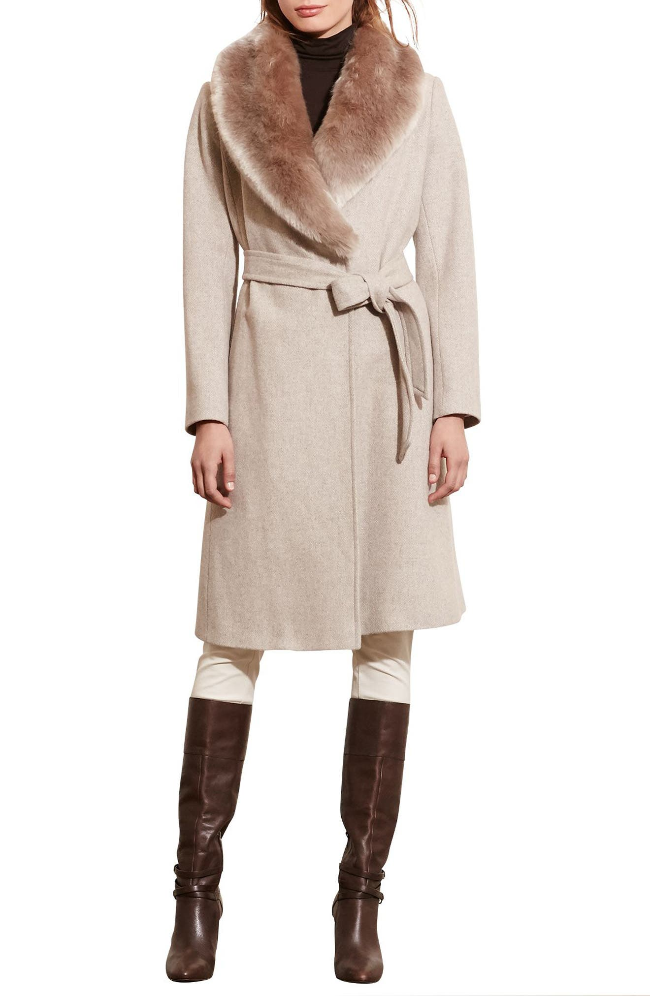 LAUREN RALPH LAUREN Wool Blend Coat with Faux Fur Collar, Main, color, PLATINUM HEATHER