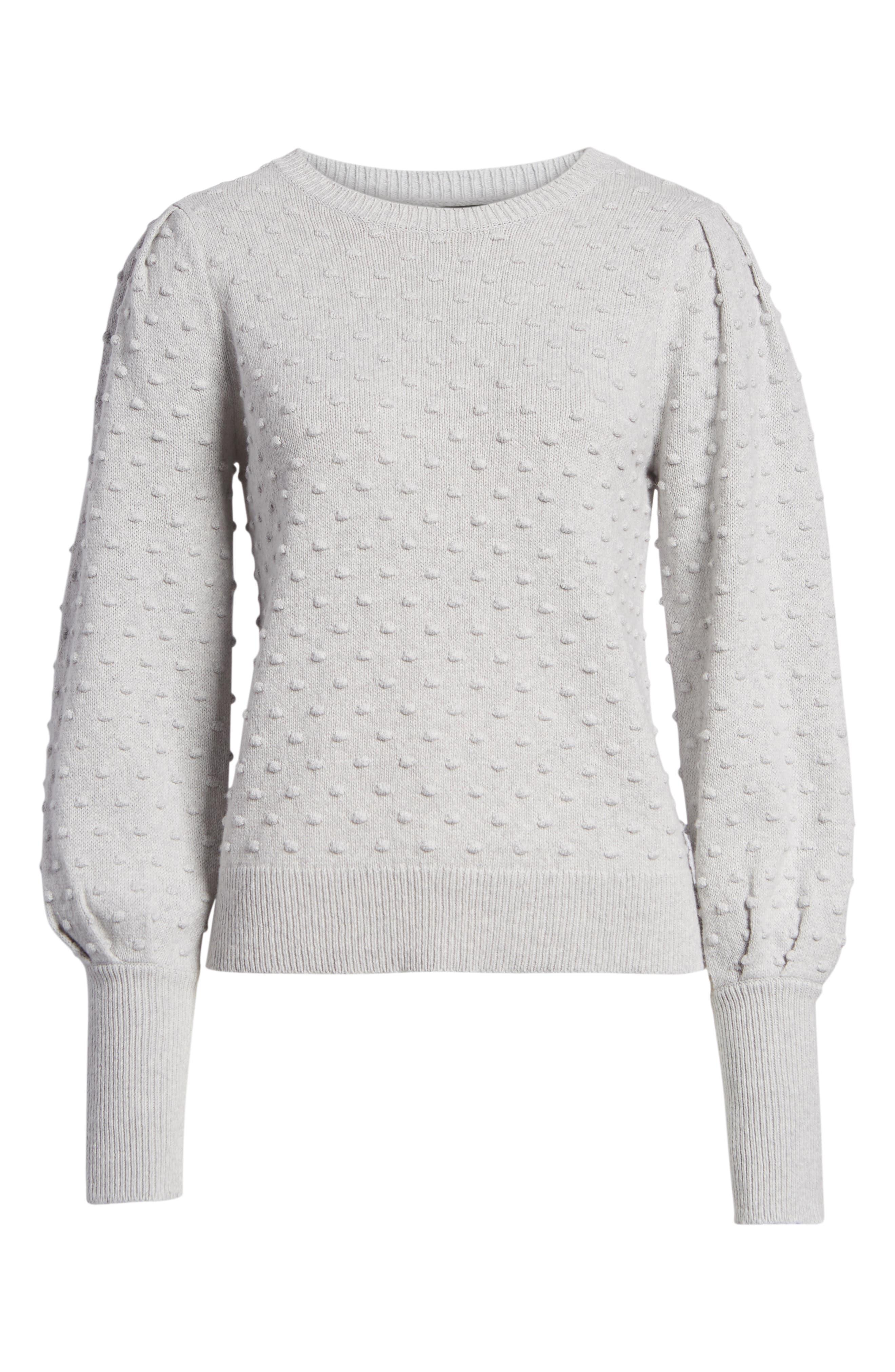 Bobble Stitch Sweater,                             Alternate thumbnail 6, color,                             GREY LIGHT HEATHER
