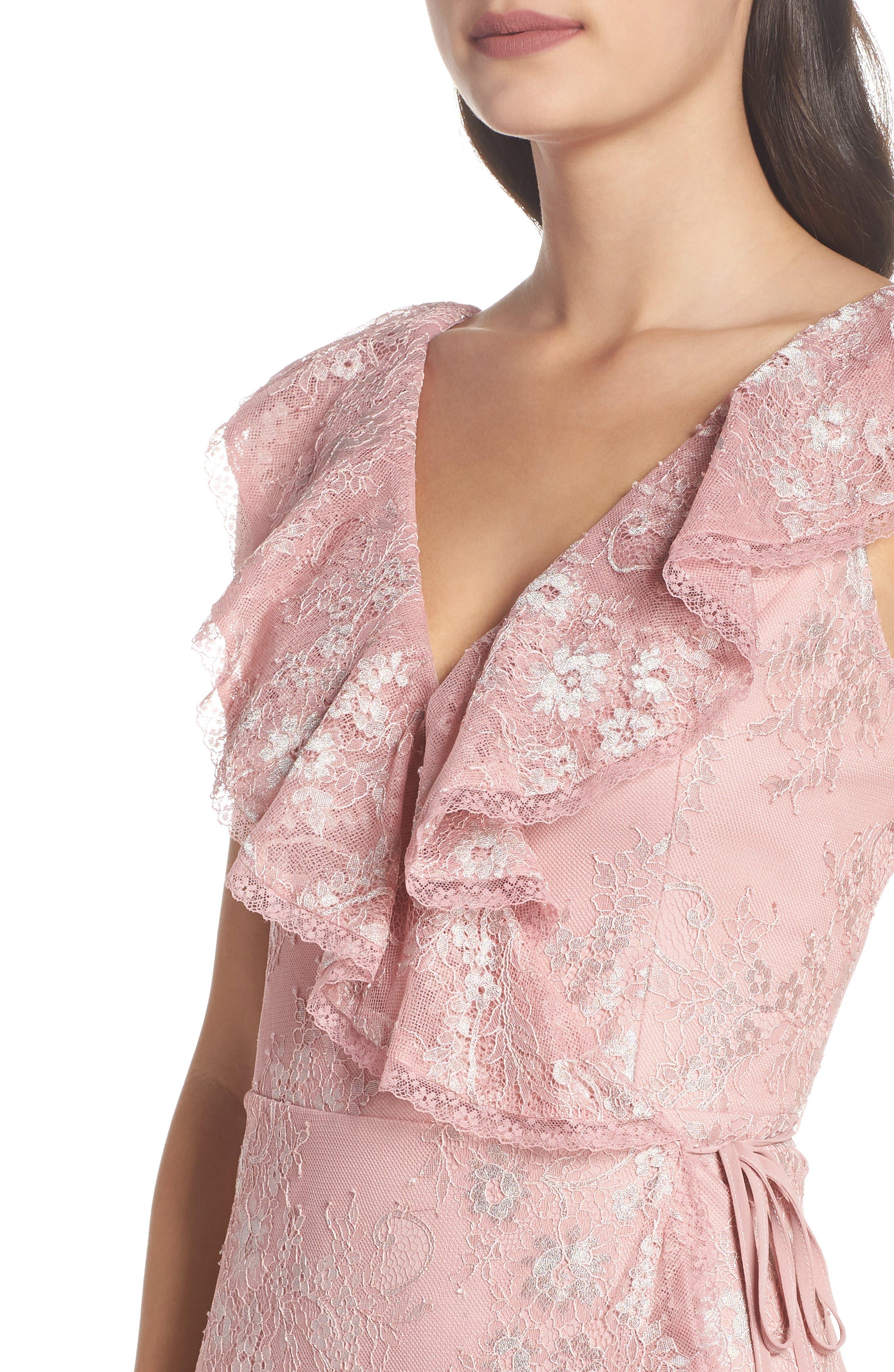 Rio Ruffle Lace Wrap Gown,                             Alternate thumbnail 4, color,                             CALYPSO