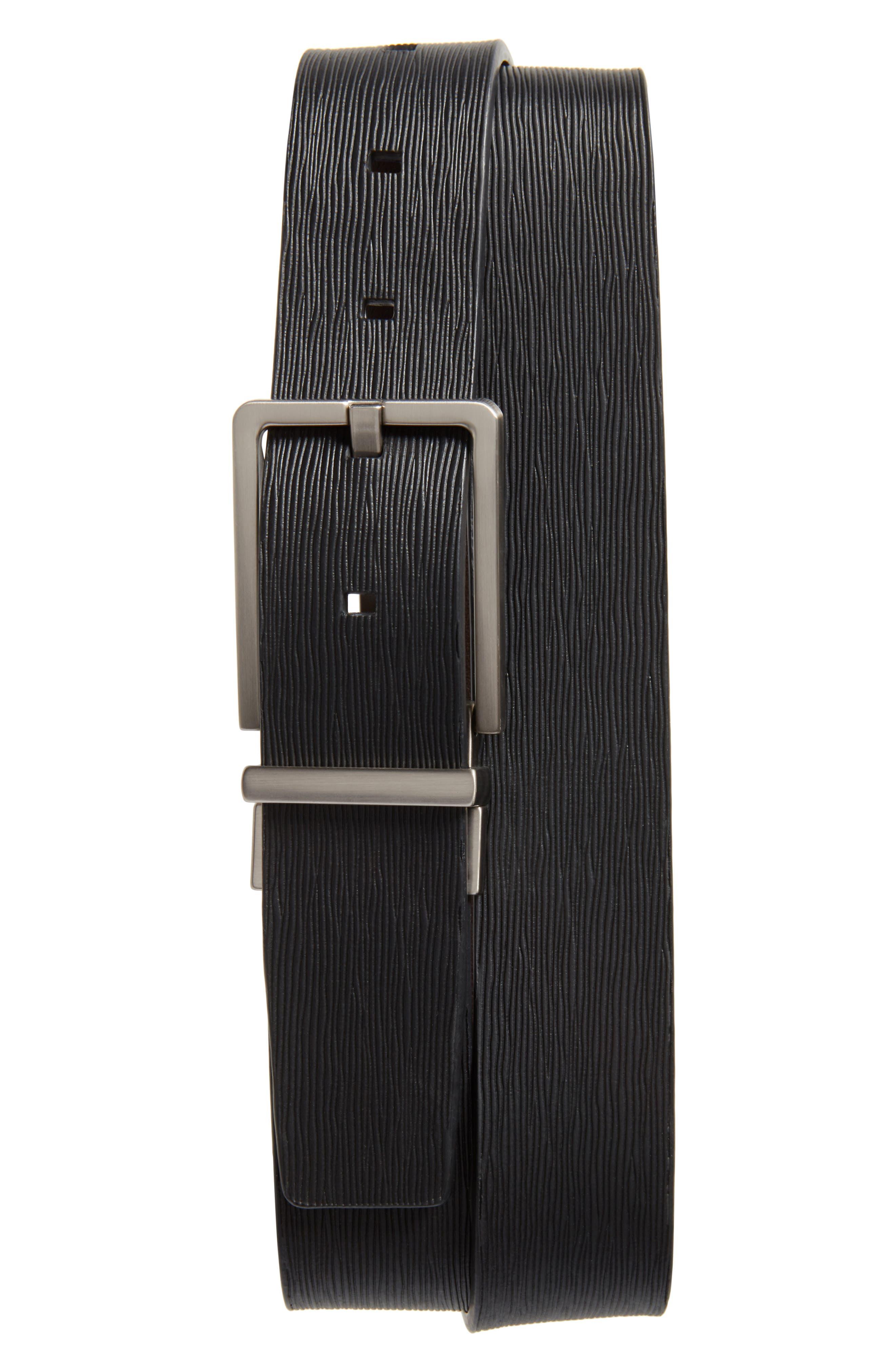 Saffiano Leather Belt,                             Main thumbnail 1, color,                             001