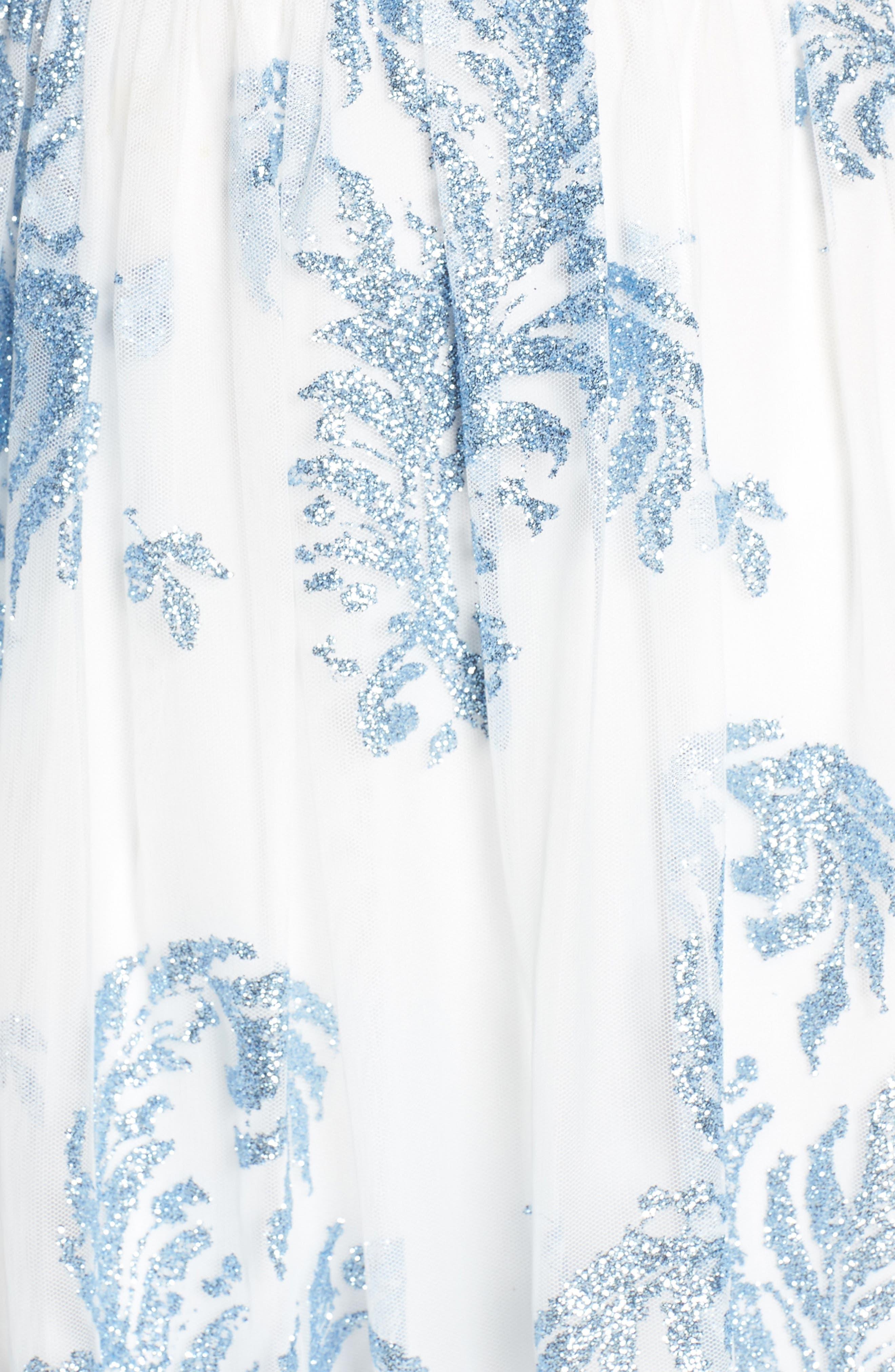 Strapless Glitter Mesh Evening Dress,                             Alternate thumbnail 6, color,                             IVORY/ BLUE