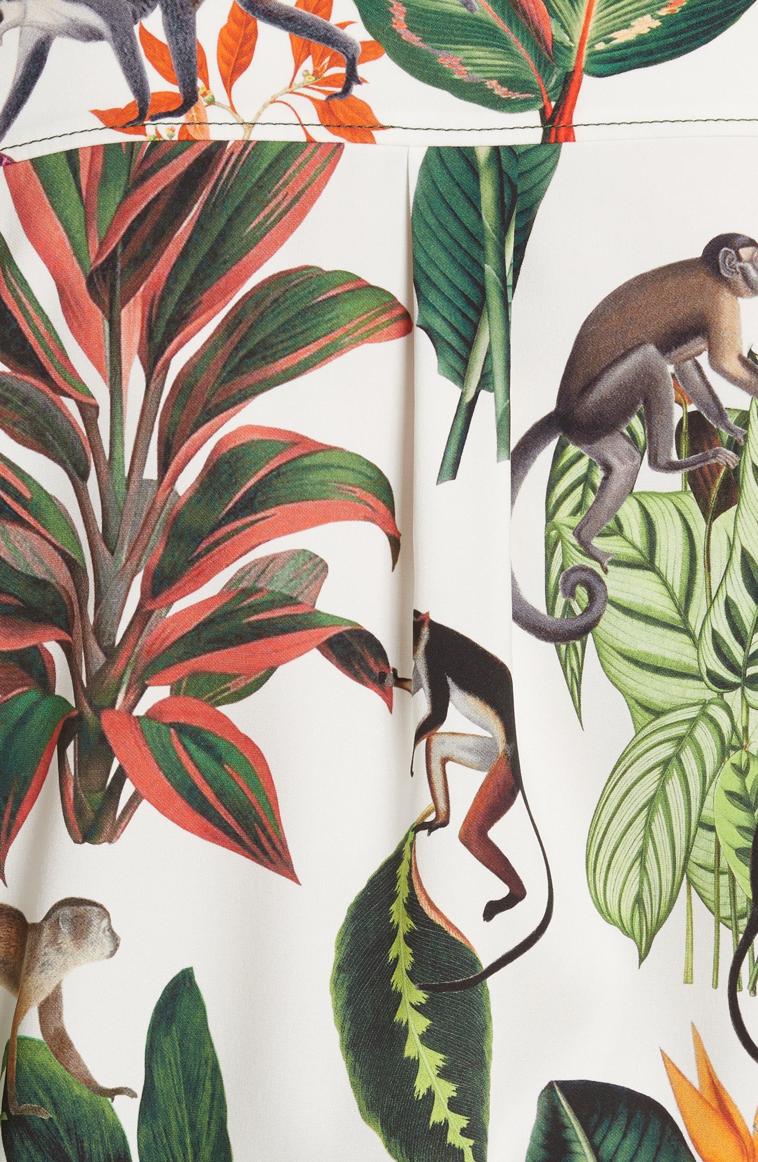 Jungle Print Georgette Blouse,                             Alternate thumbnail 5, color,                             300