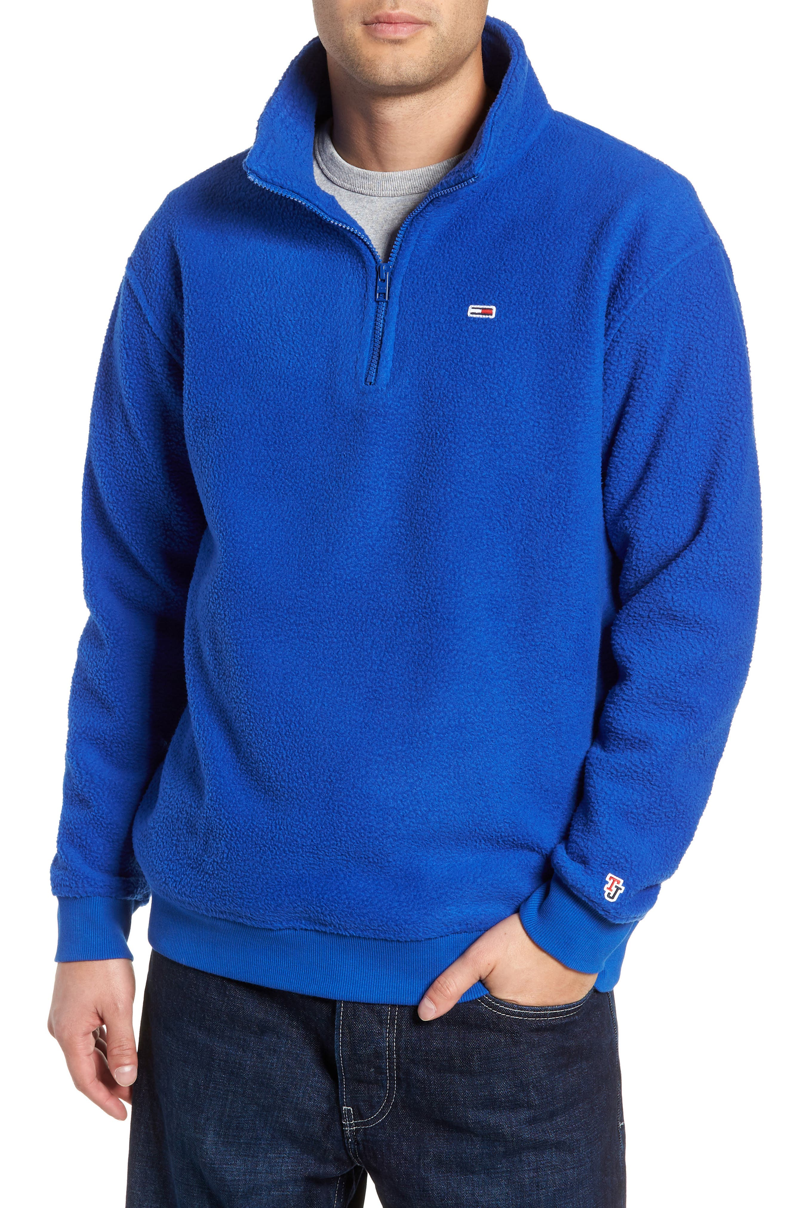 TJM Classics Half Zip Fleece Pullover,                             Main thumbnail 1, color,                             SURF THE WEB