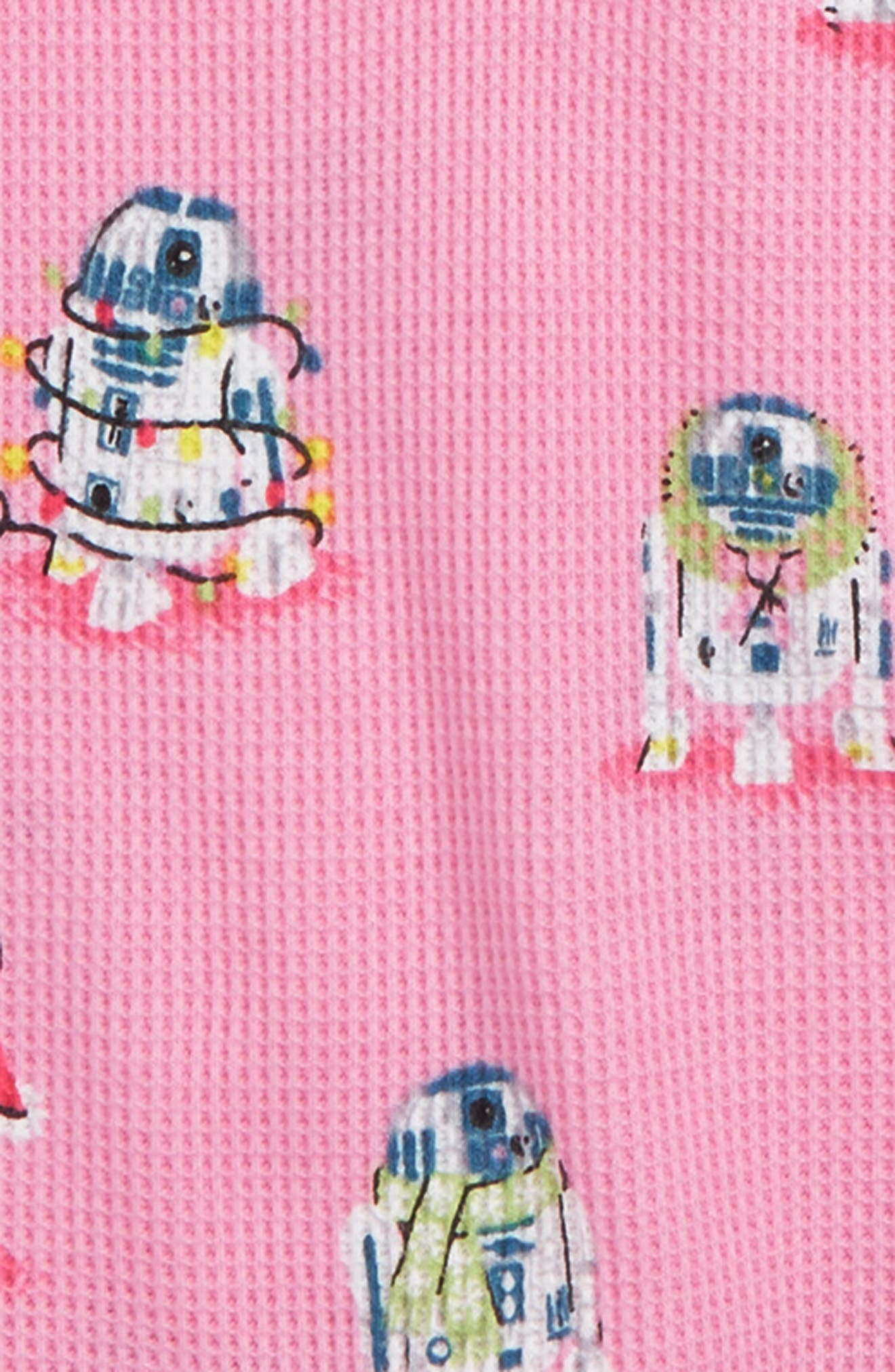 Star Wars<sup>™</sup> Slumber Fitted Two-Piece Thermal Pajamas,                             Alternate thumbnail 2, color,                             PINK STAR WARS