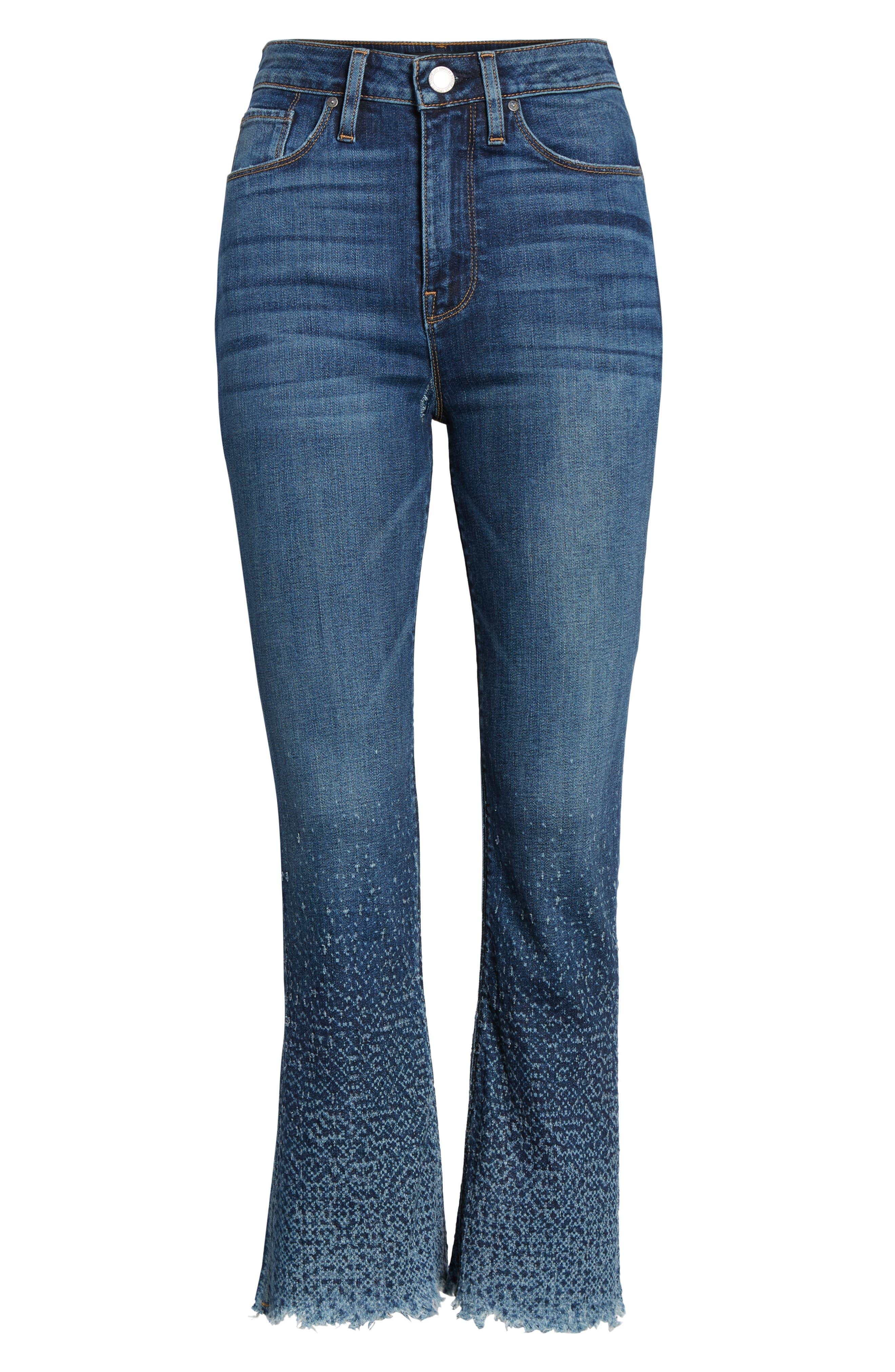 Holly High Waist Crop Flare Jeans,                             Alternate thumbnail 6, color,                             DIST. SUNDOWN DISTRESSED