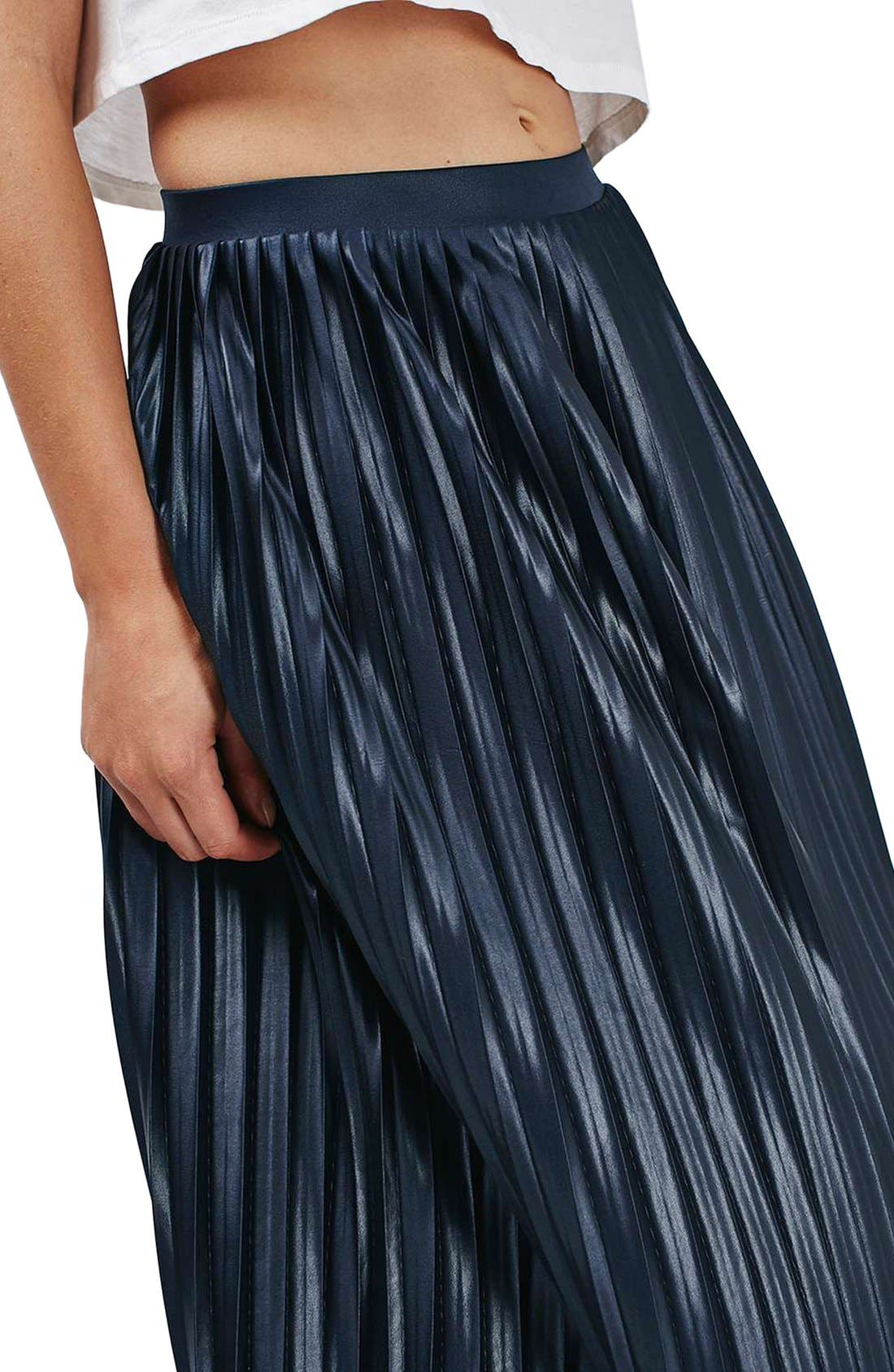 TOPSHOP,                             Pleat Jersey Midi Skirt,                             Alternate thumbnail 5, color,                             410