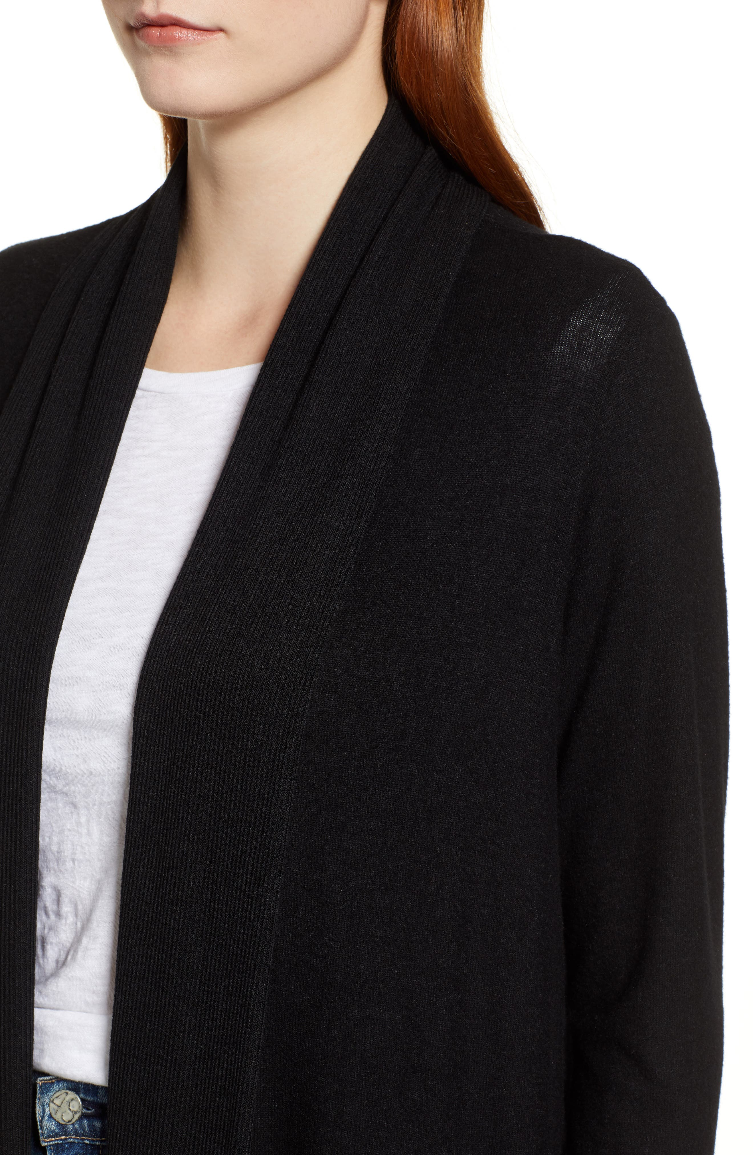 Cozy Ribbed Cardigan,                             Alternate thumbnail 4, color,                             001