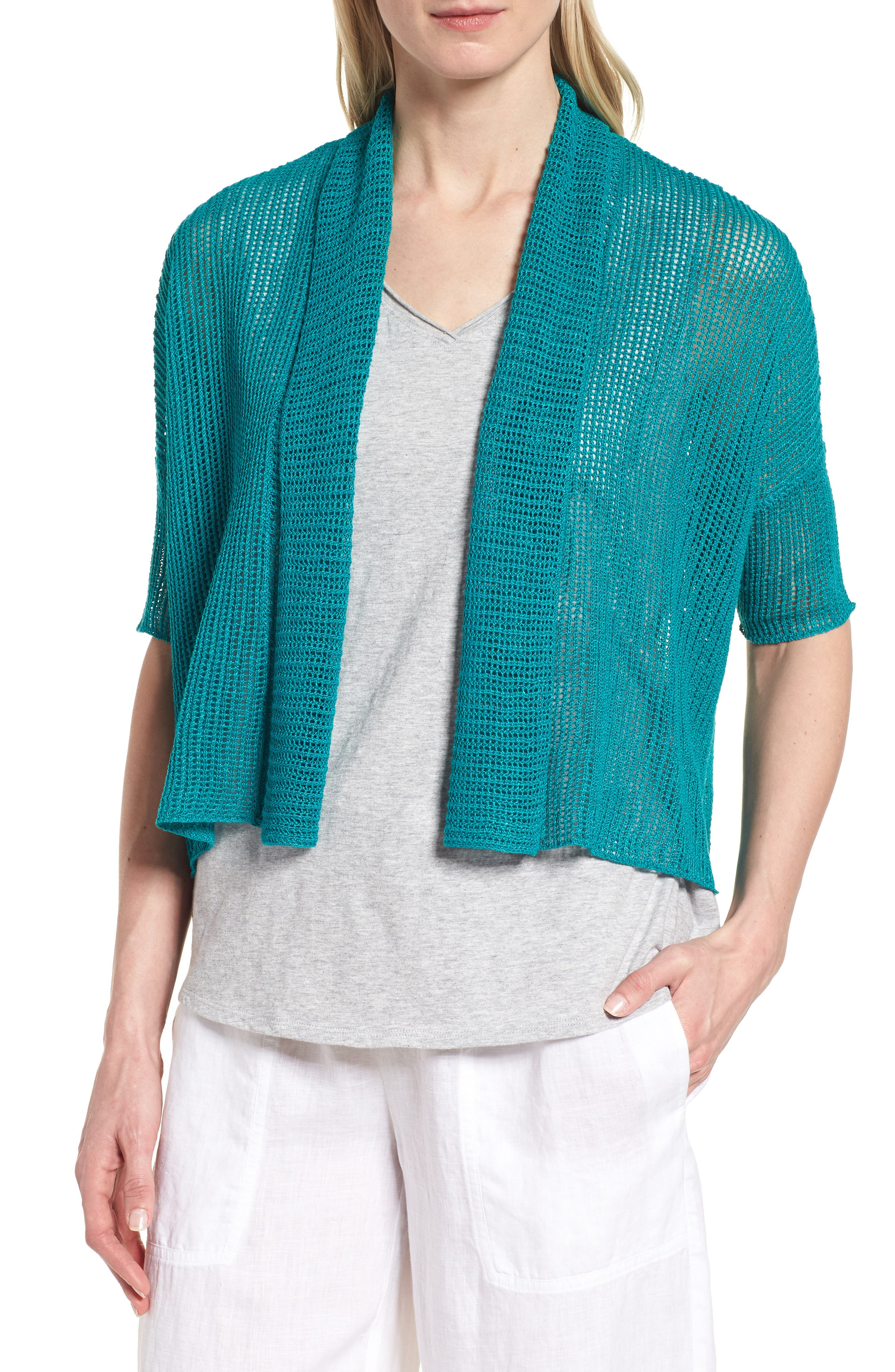 Boxy Organic Linen Cardigan,                             Main thumbnail 4, color,